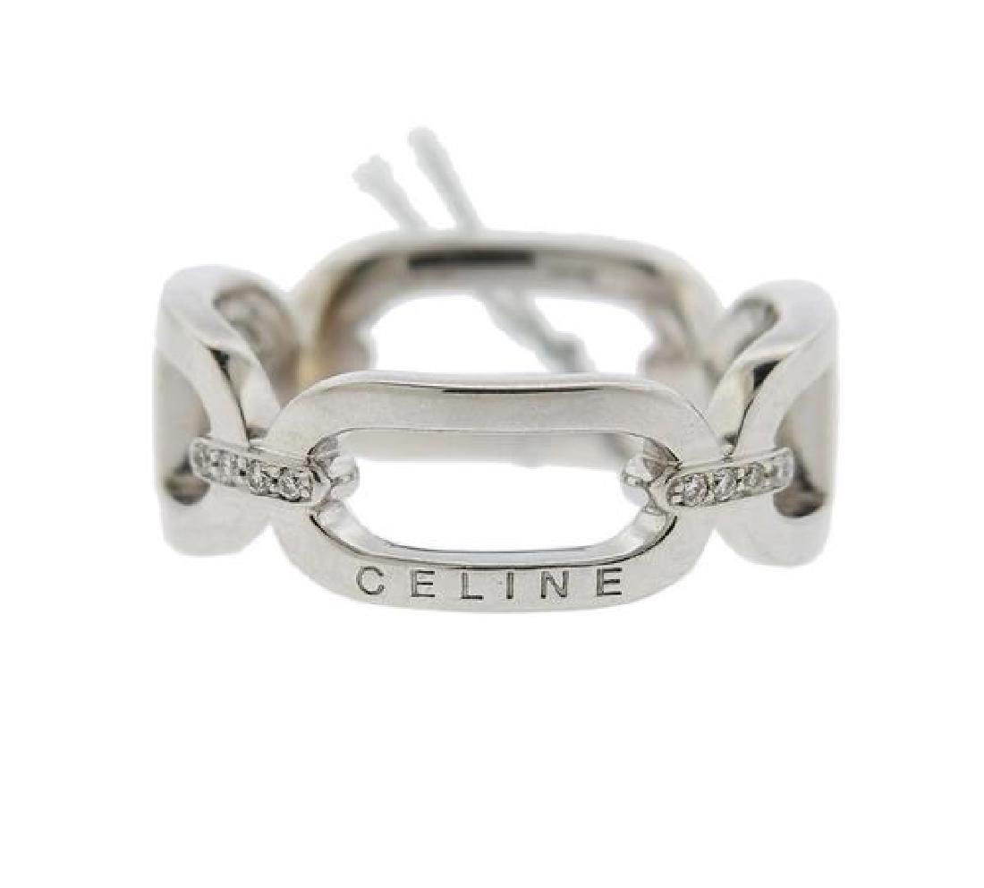Celine 18k Gold Diamond Link Band Ring