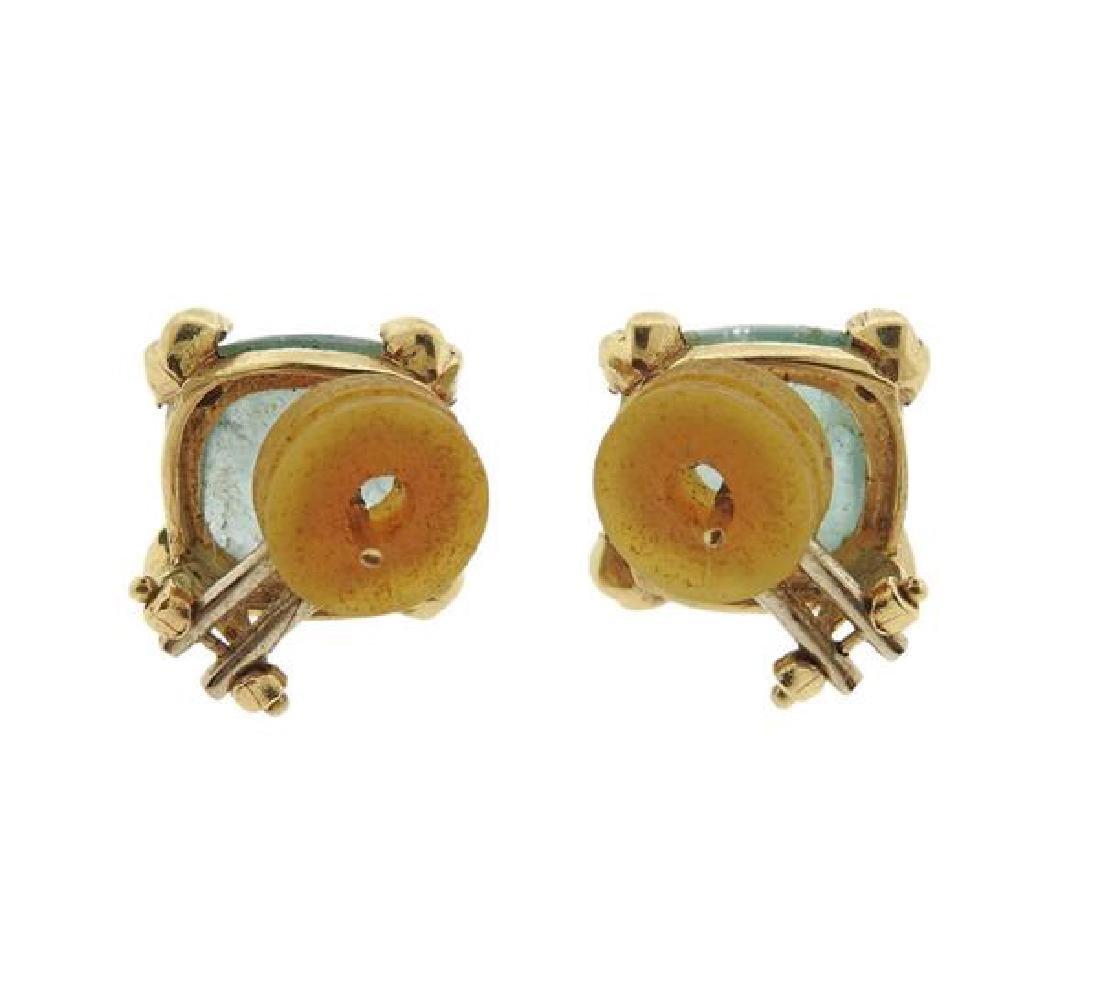 14K Gold Aquamarine Earrings - 3