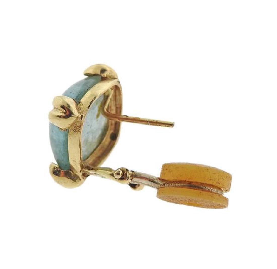 14K Gold Aquamarine Earrings - 4