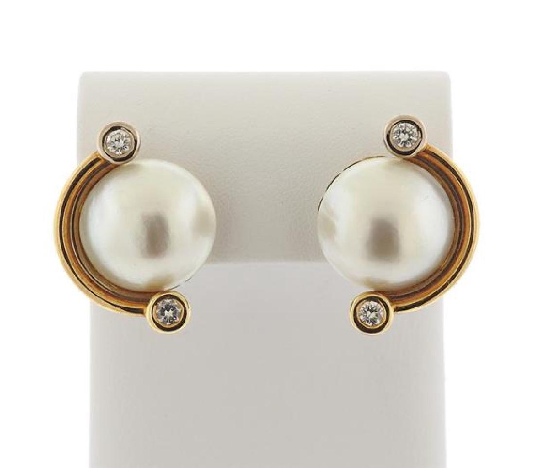 V. Caparros 18K Gold Diamond Pearl Earrings