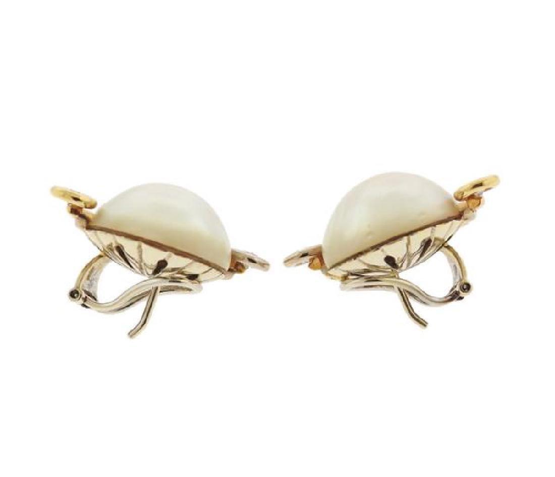 V. Caparros 18K Gold Diamond Pearl Earrings - 2