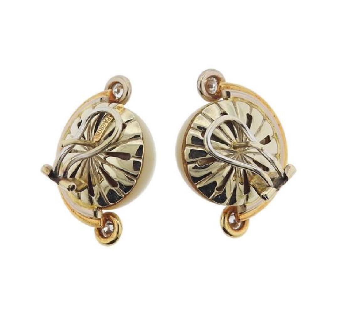 V. Caparros 18K Gold Diamond Pearl Earrings - 3