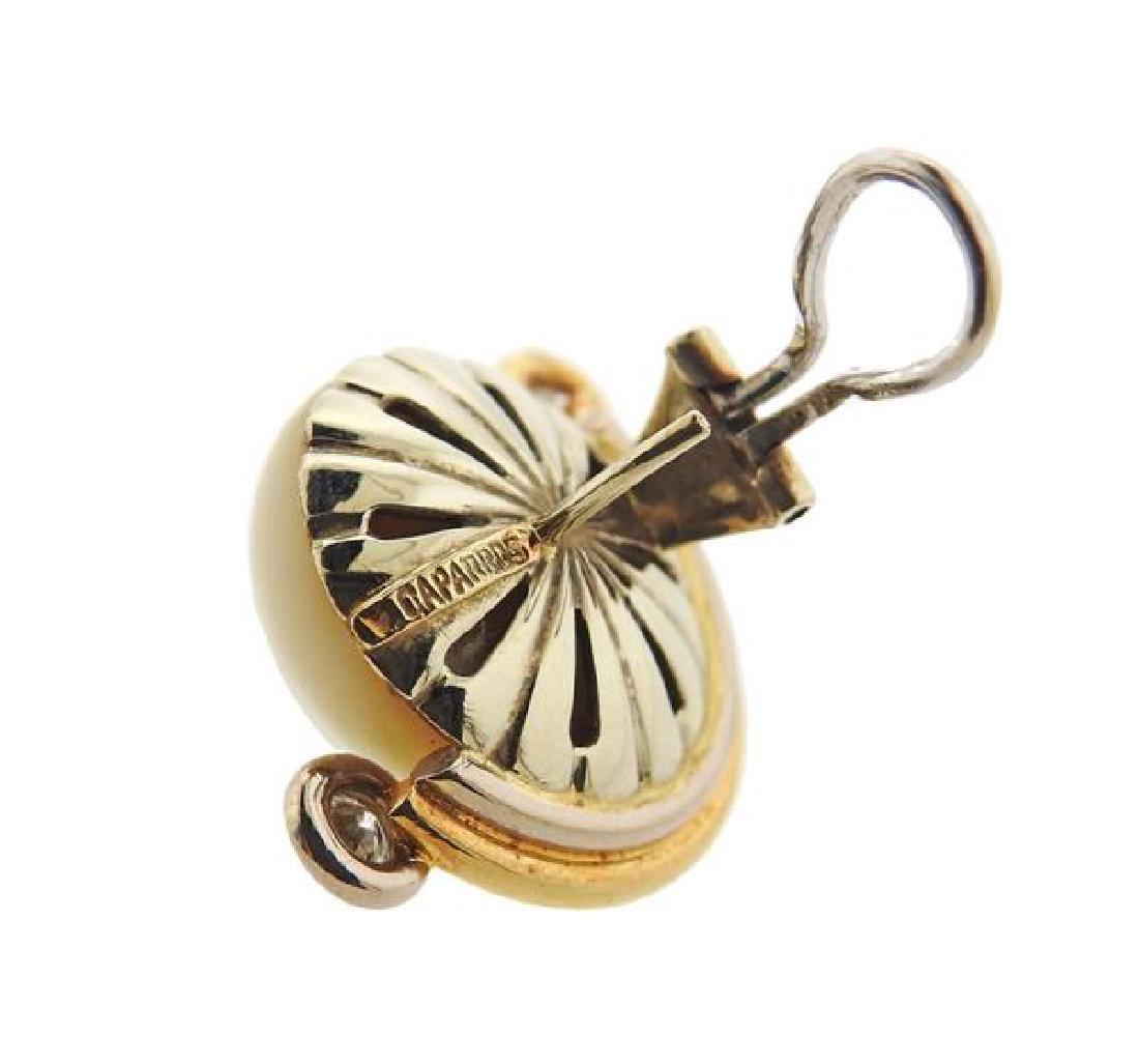 V. Caparros 18K Gold Diamond Pearl Earrings - 4