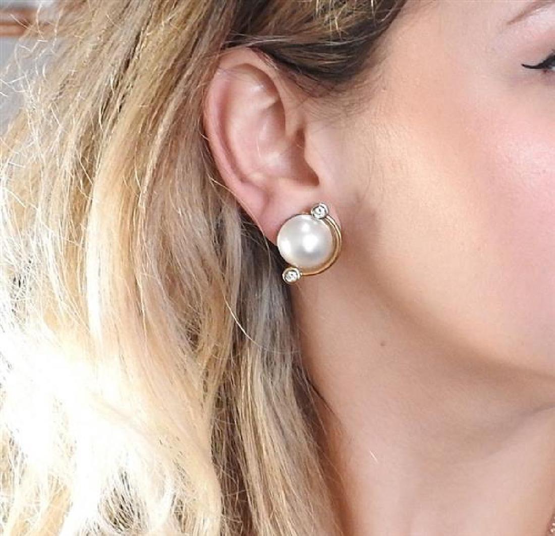 V. Caparros 18K Gold Diamond Pearl Earrings - 5