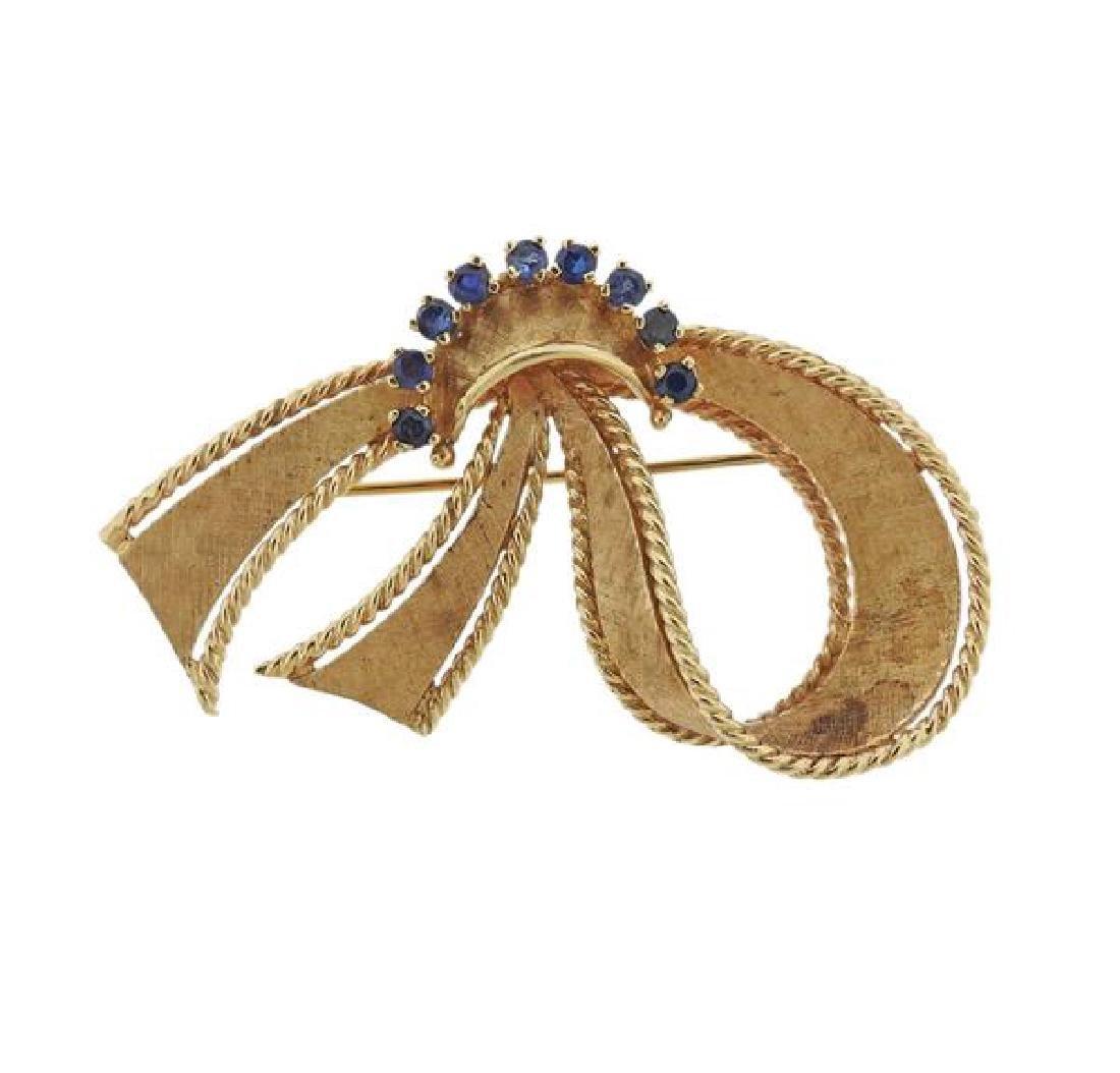 Retro 14K Gold Blue Gemstone Brooch