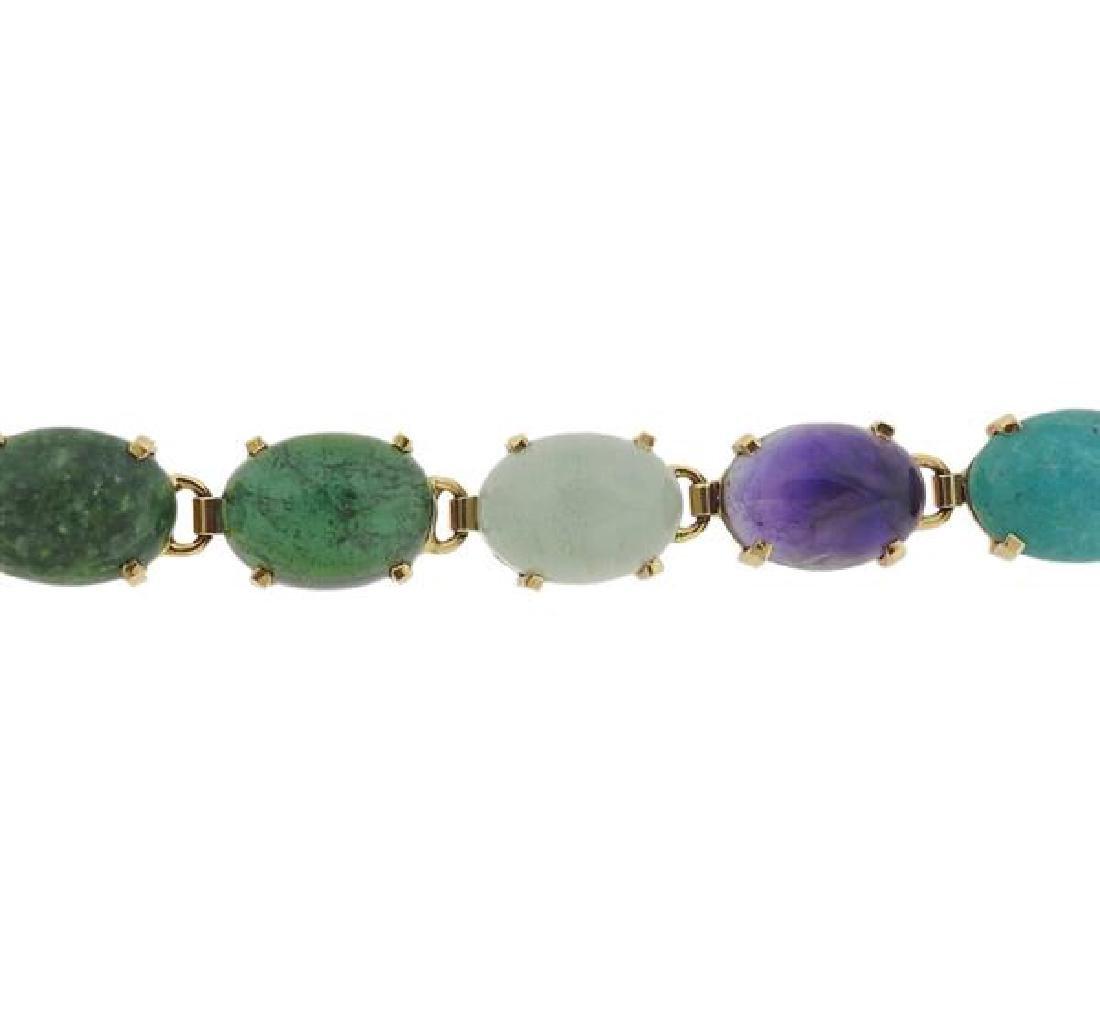 14k Gold Multi Gemstone Bracelet - 2