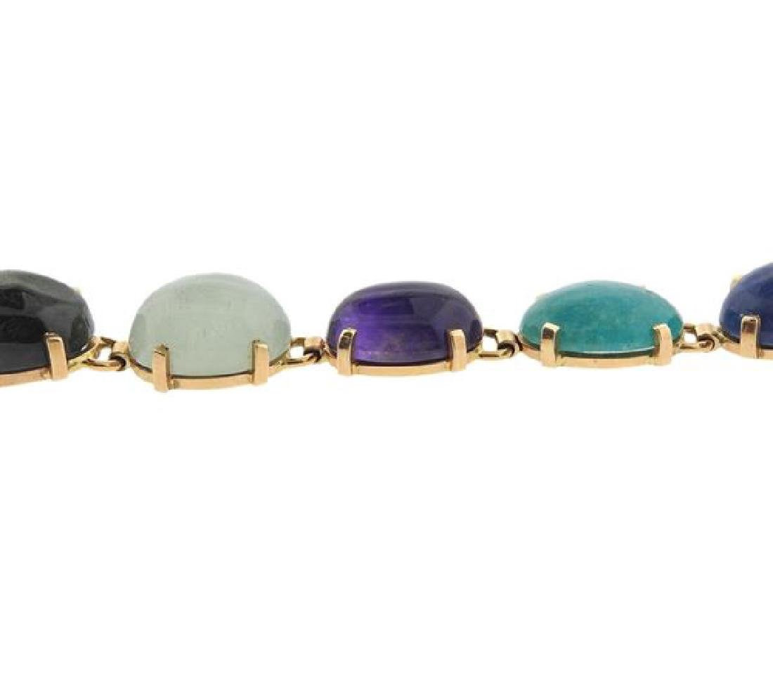 14k Gold Multi Gemstone Bracelet - 3