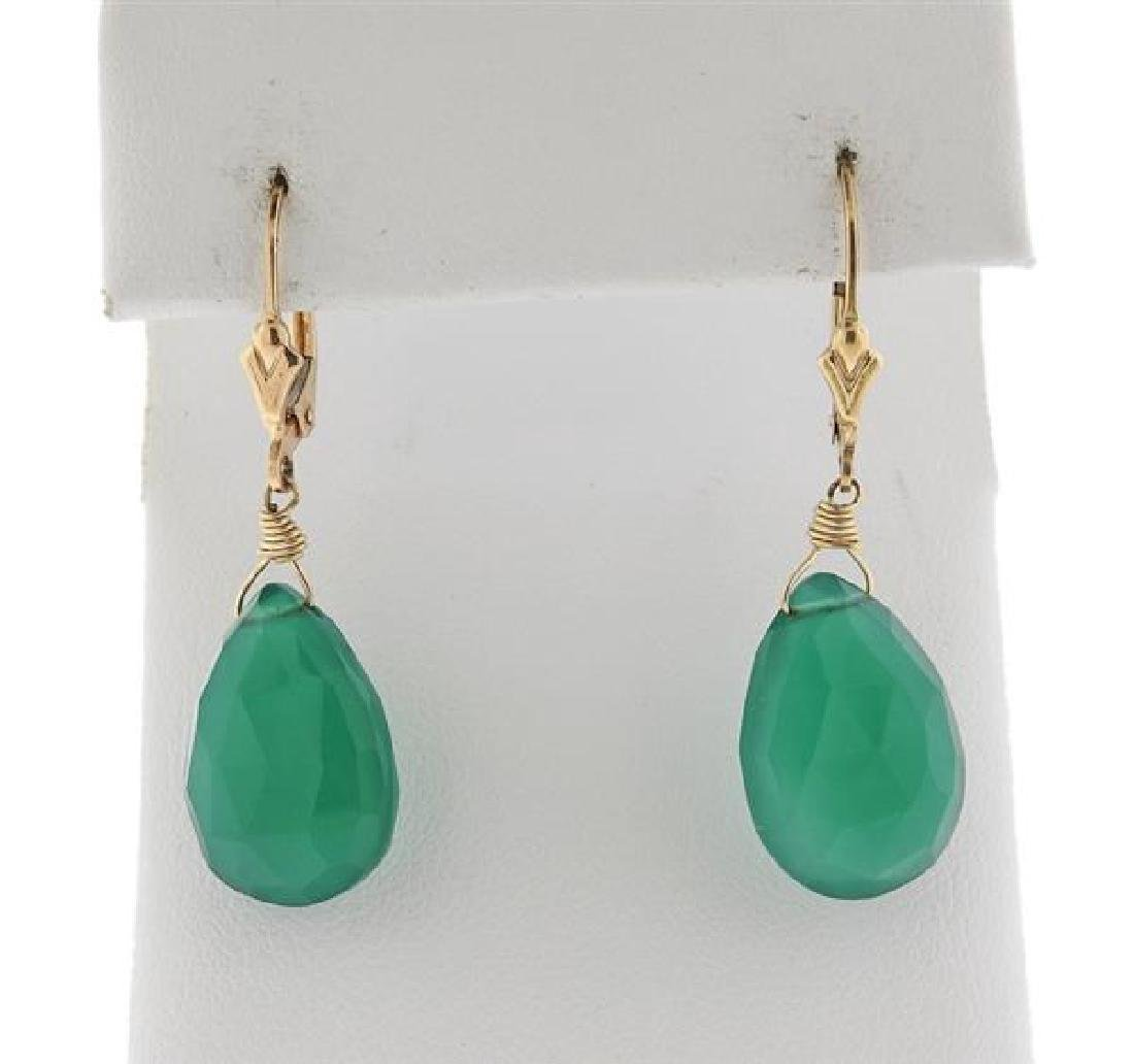 14K Gold Green Gemstone Drop Earrings