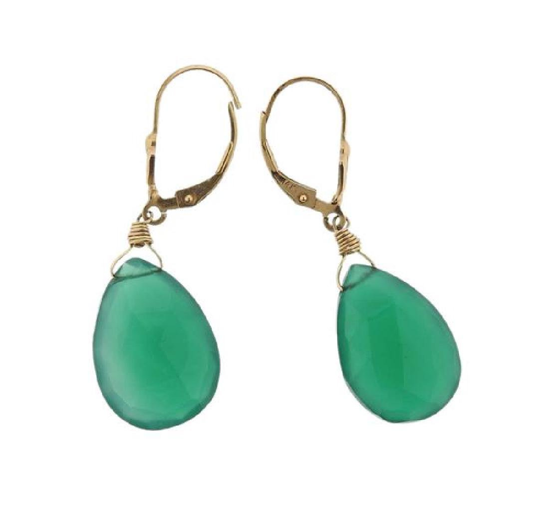 14K Gold Green Gemstone Drop Earrings - 2