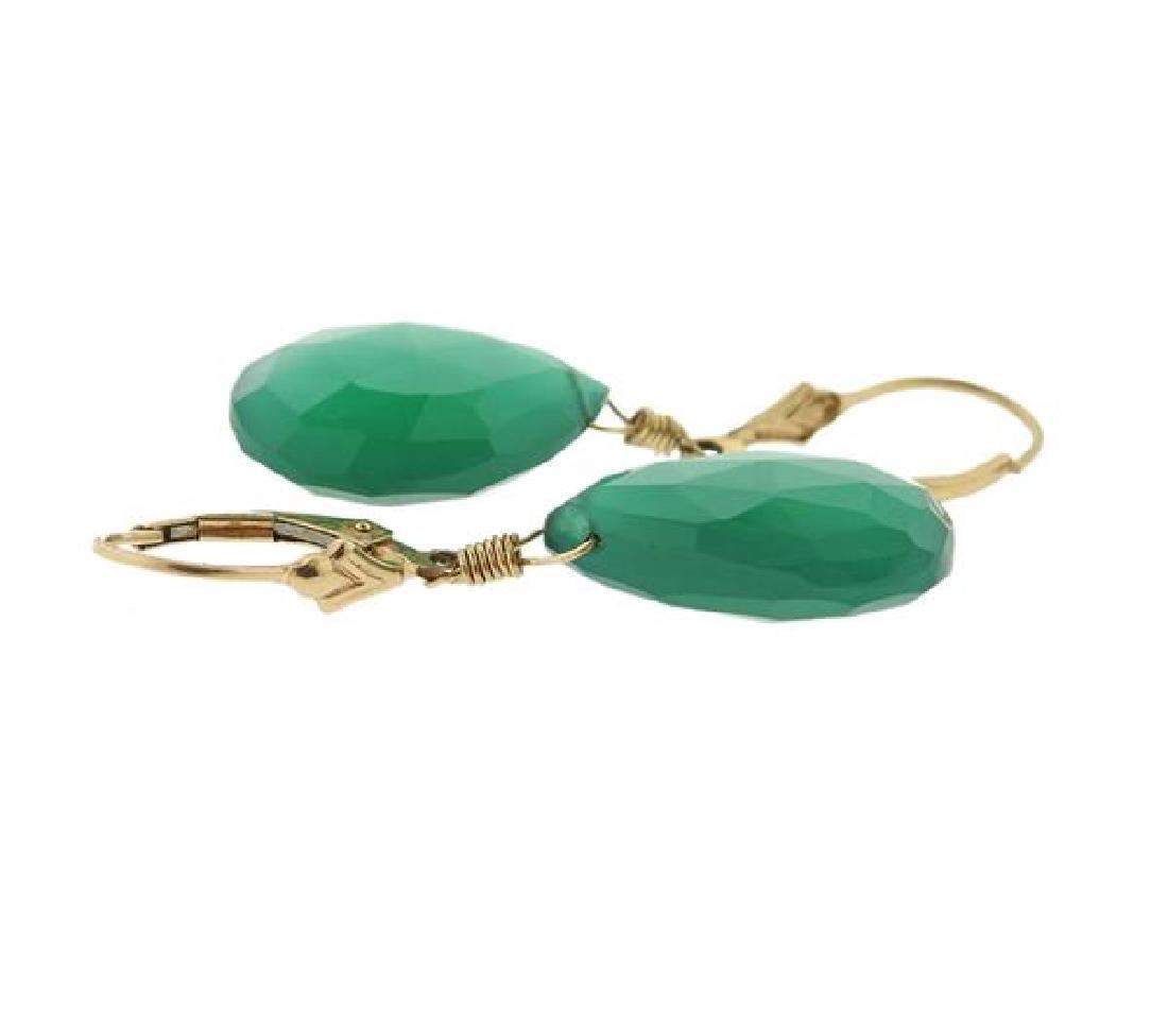 14K Gold Green Gemstone Drop Earrings - 3