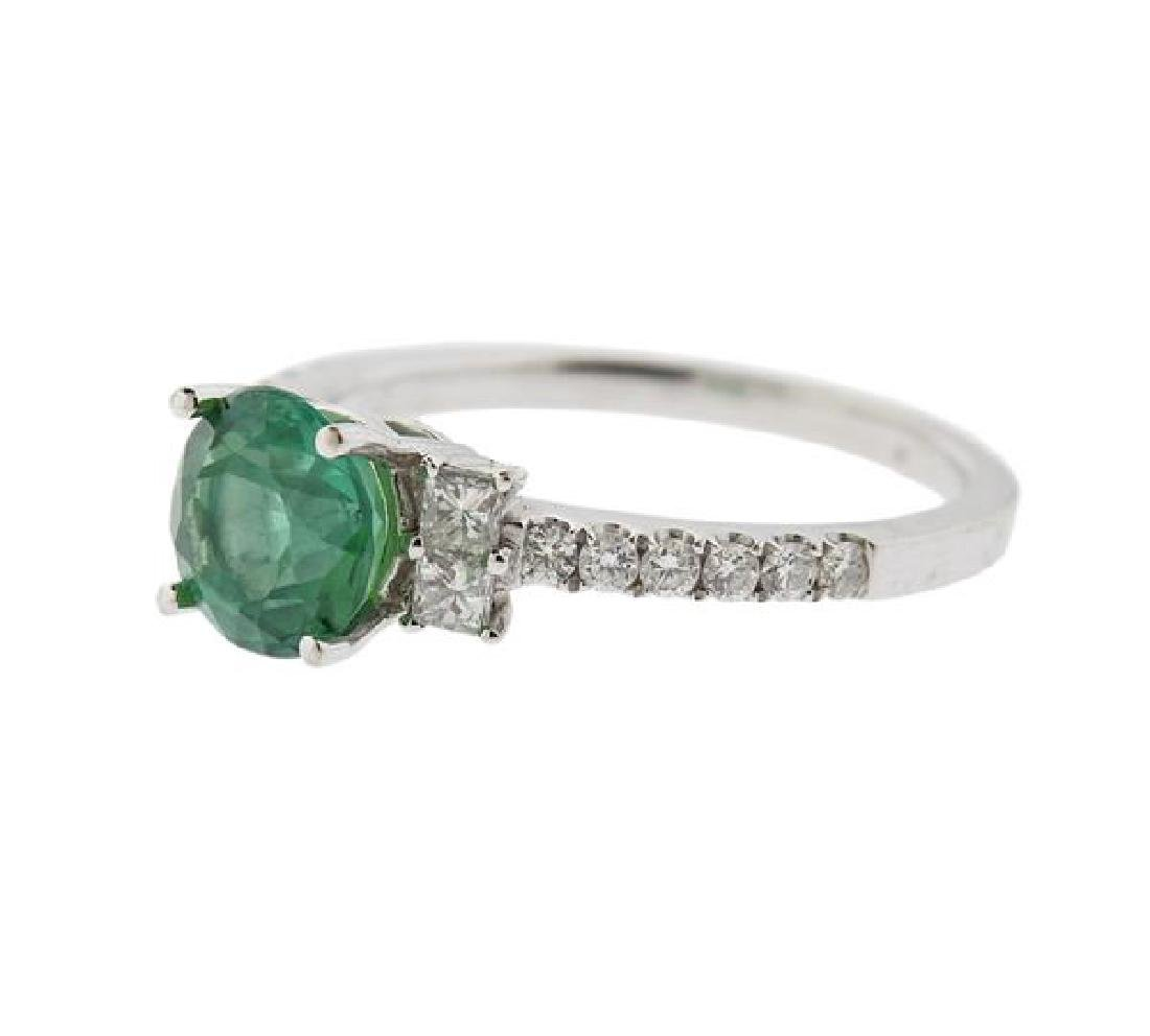 18K Gold Diamond Green Gemstone Ring - 2