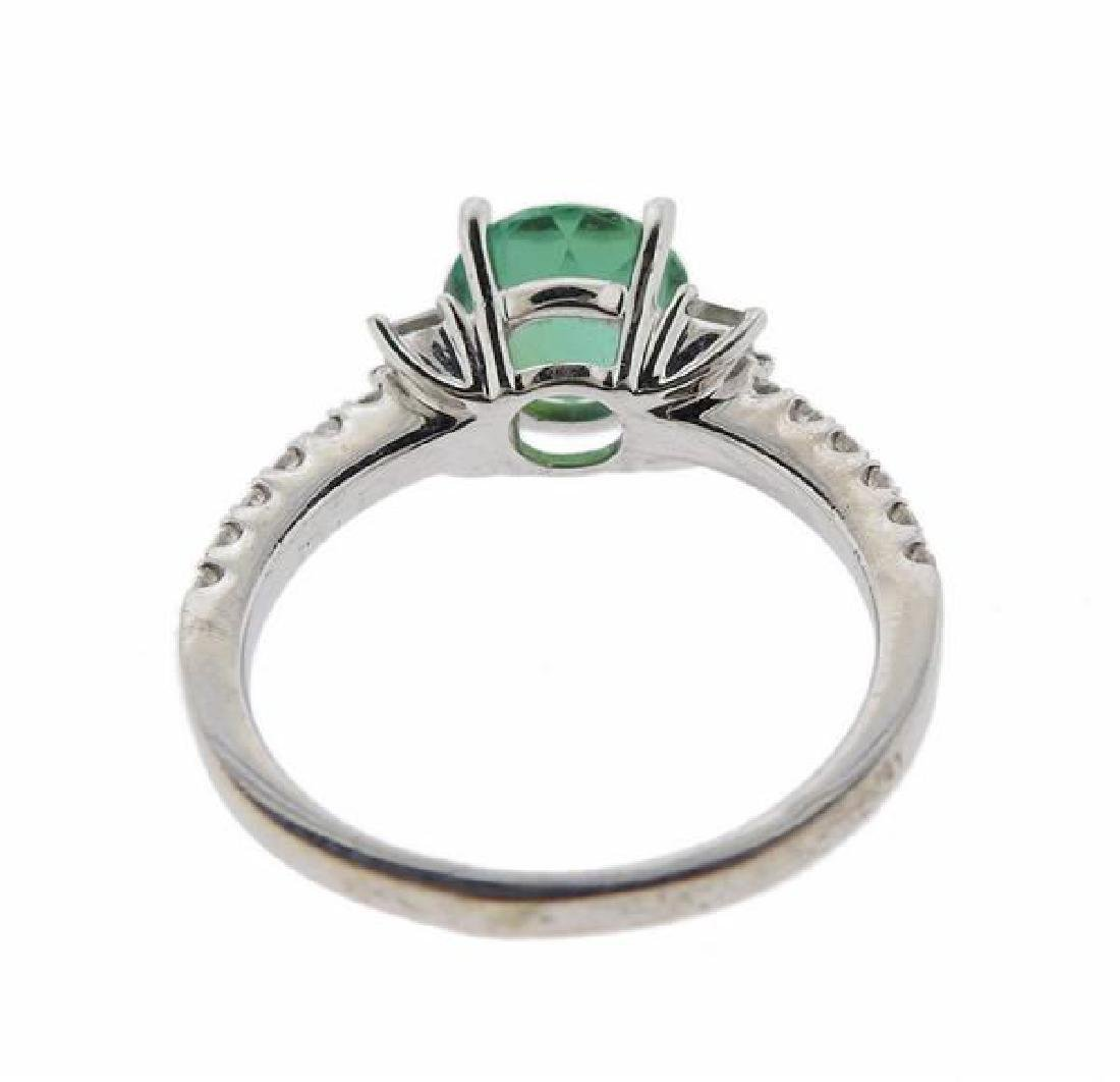 18K Gold Diamond Green Gemstone Ring - 3