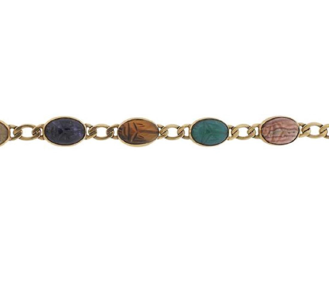 14K Gold Multi Gemstone Scarab Bracelet - 2