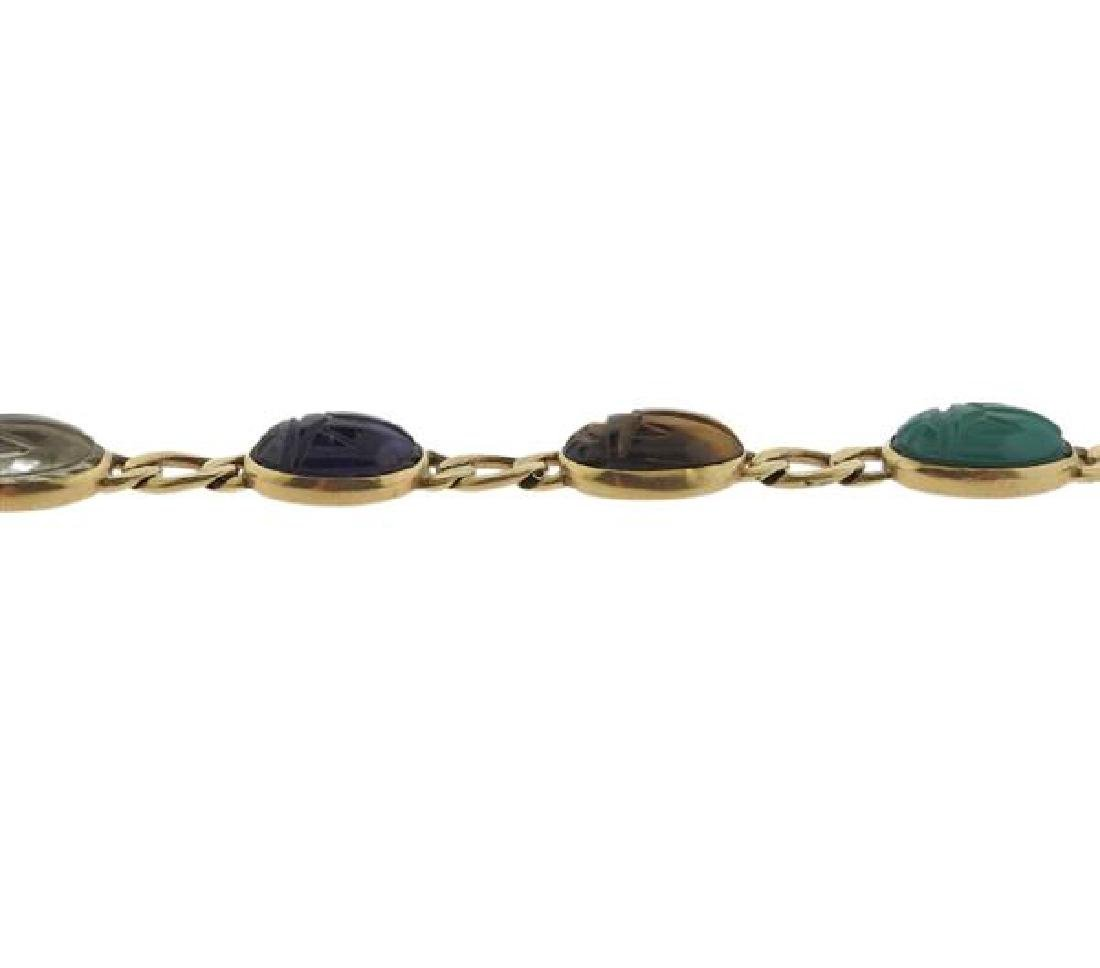 14K Gold Multi Gemstone Scarab Bracelet - 3