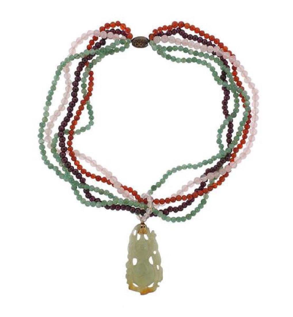 Multi Color Carved Jade Multi Gem Bead Silver Necklace