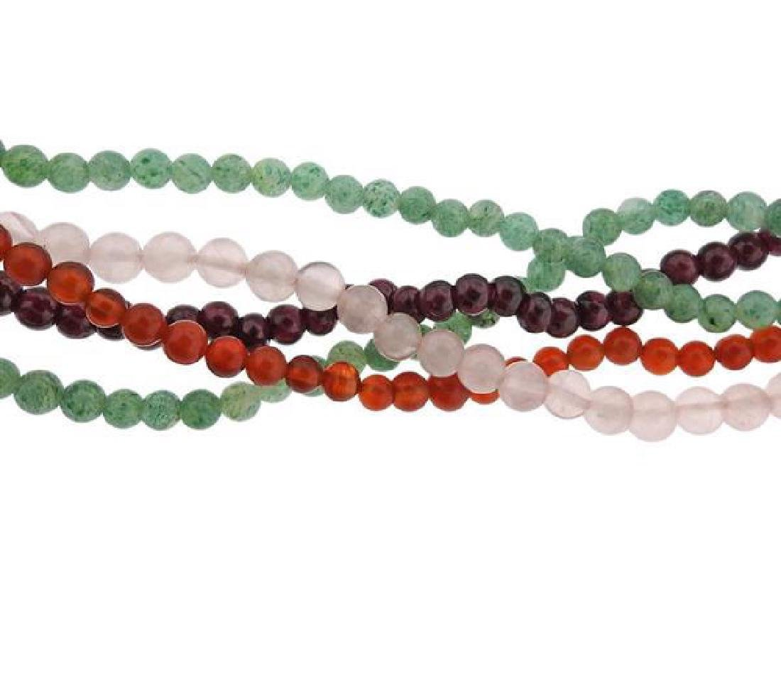 Multi Color Carved Jade Multi Gem Bead Silver Necklace - 4