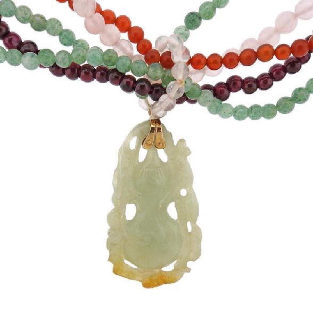 Multi Color Carved Jade Multi Gem Bead Silver Necklace - 5