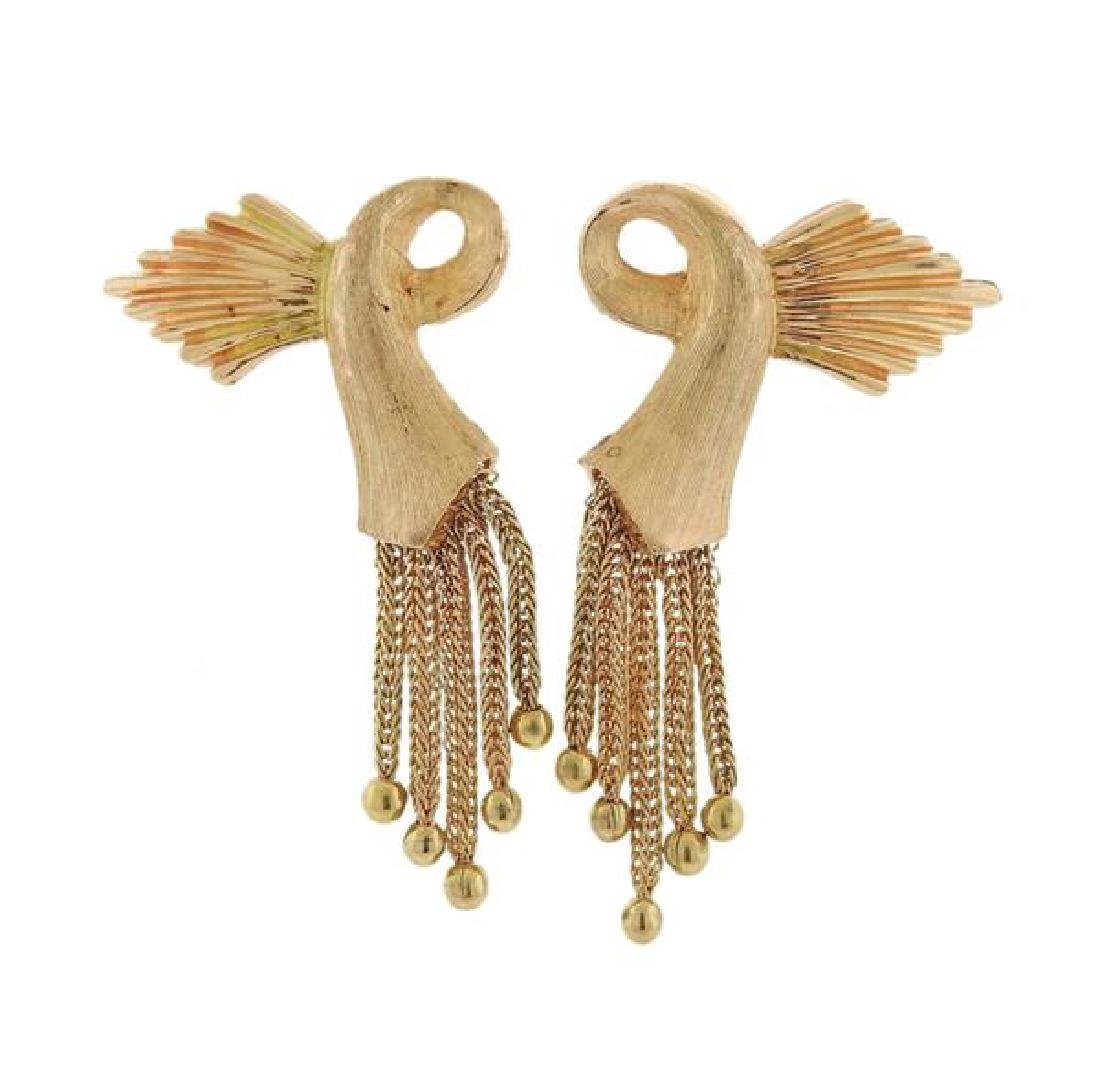 Retro 14K Gold Tassel Earrings