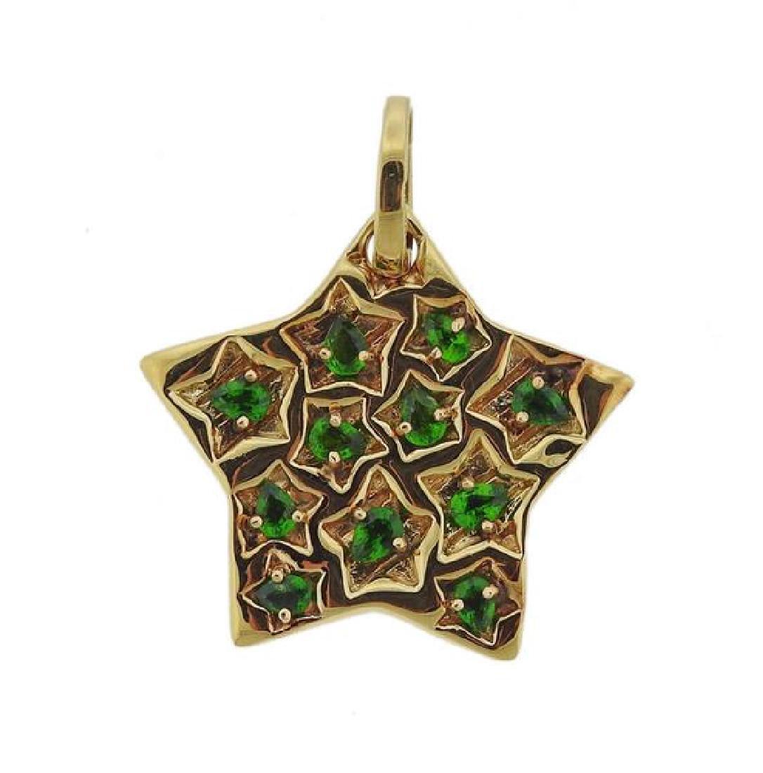 18K Gold Green Gemstone Star Pendant