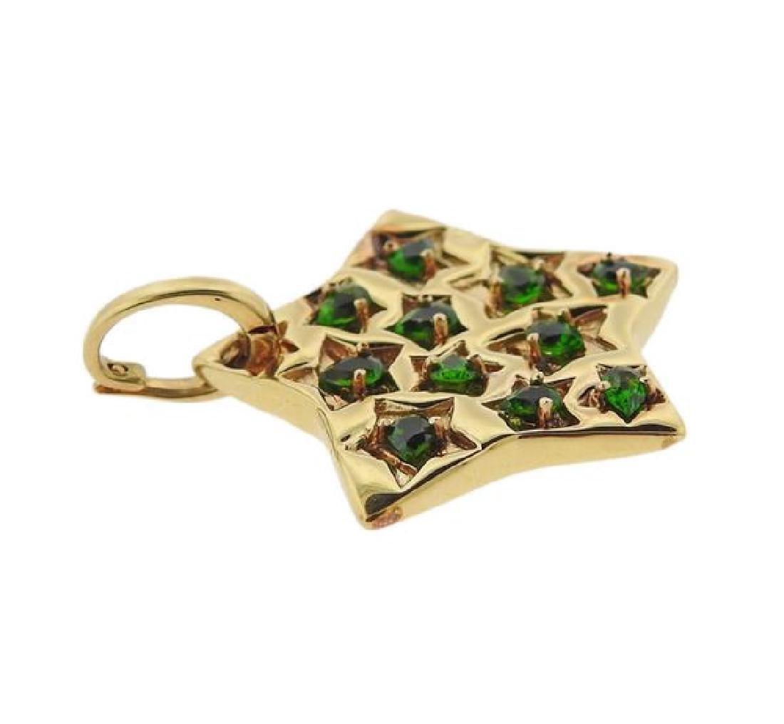 18K Gold Green Gemstone Star Pendant - 2
