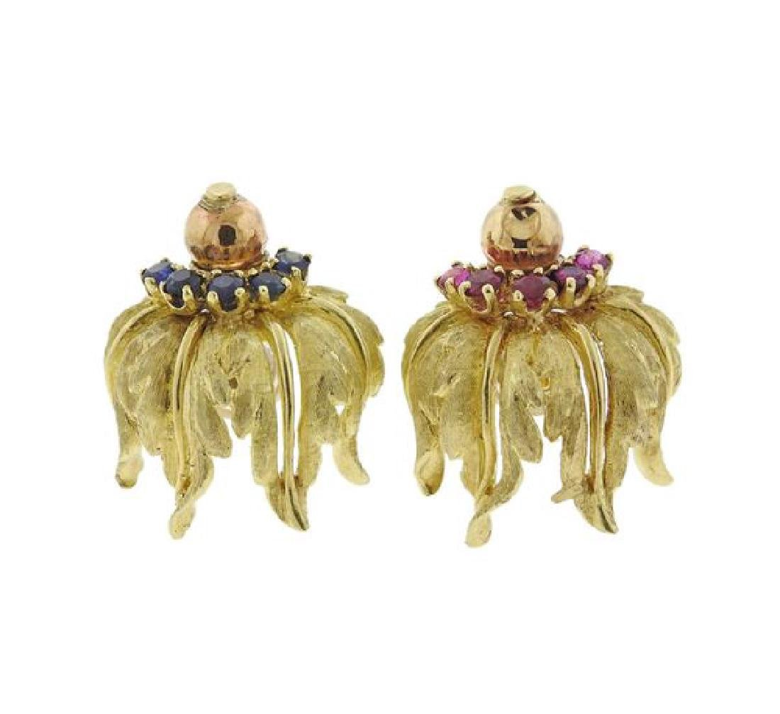 18K Gold Red Blue Gemstone Earrings