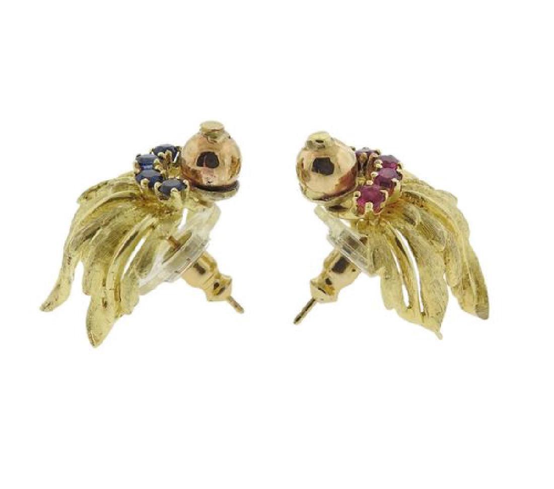 18K Gold Red Blue Gemstone Earrings - 2