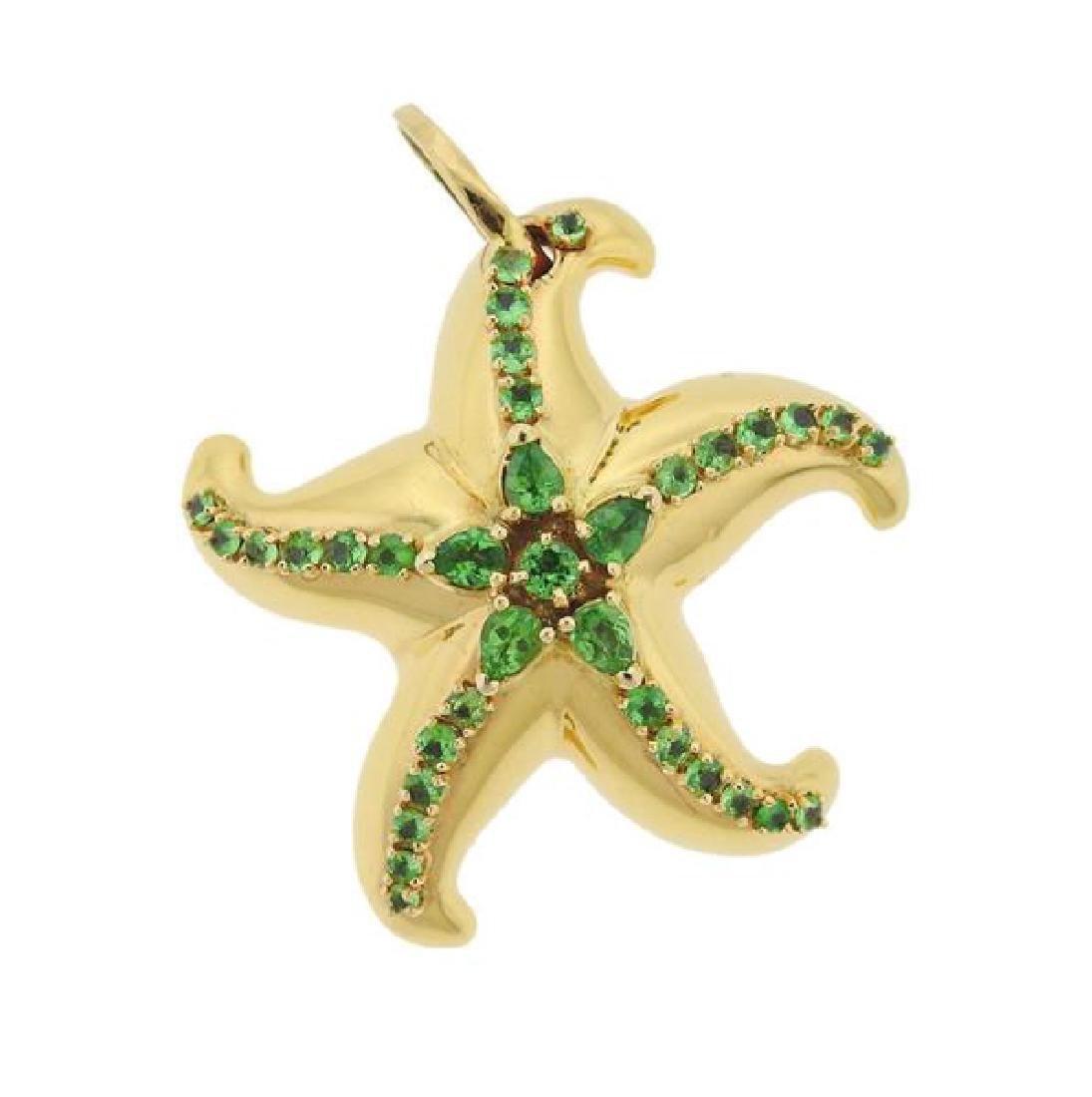 18K Gold Green Gemstone Starfish Pendant