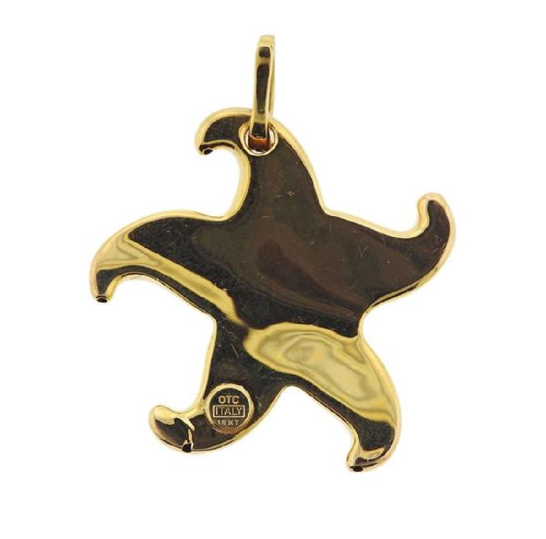 18K Gold Green Gemstone Starfish Pendant - 3
