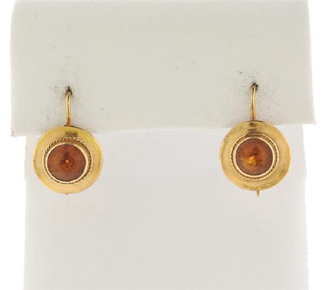 14K Gold Orange Gemstone Earrings