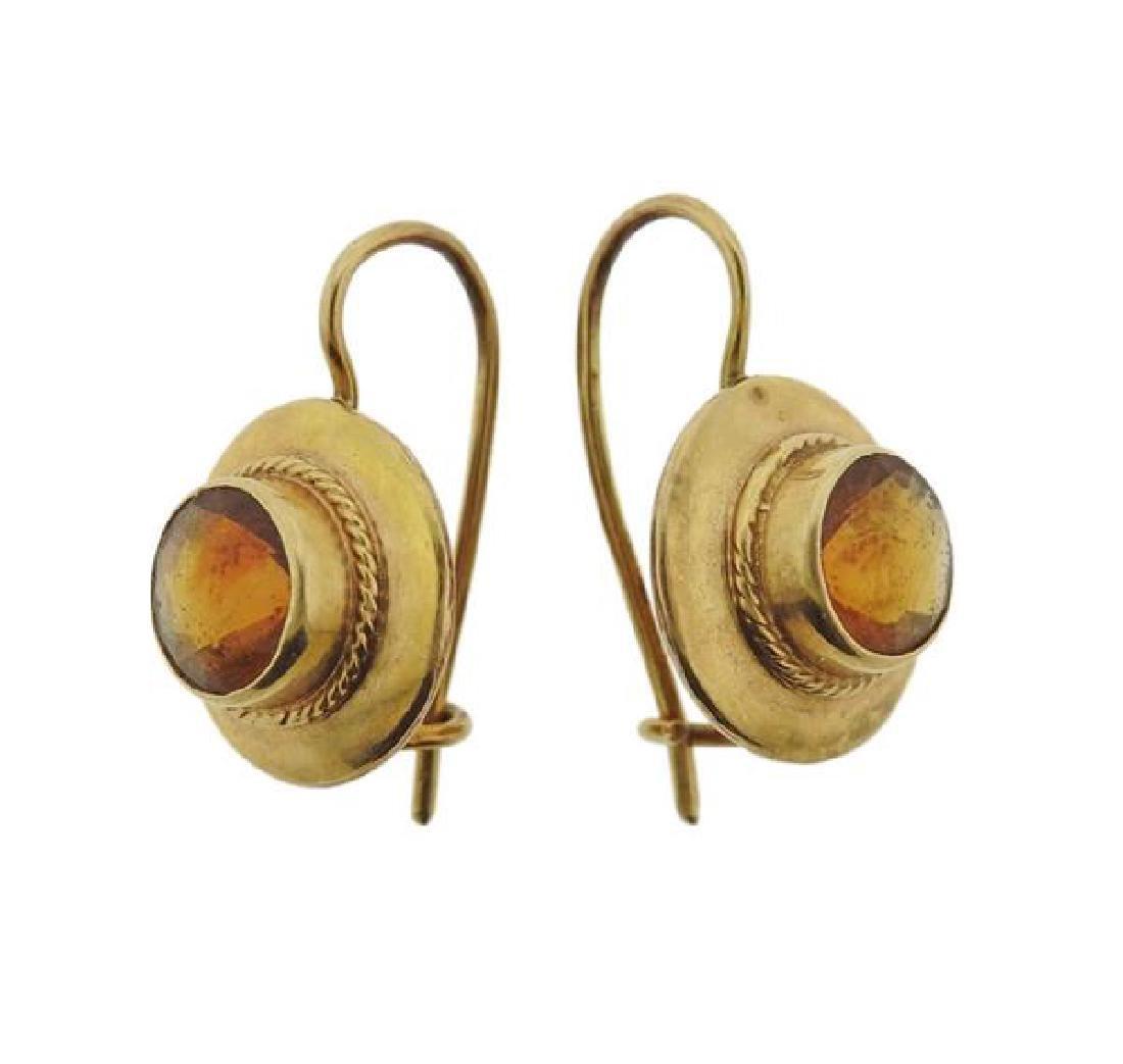14K Gold Orange Gemstone Earrings - 2