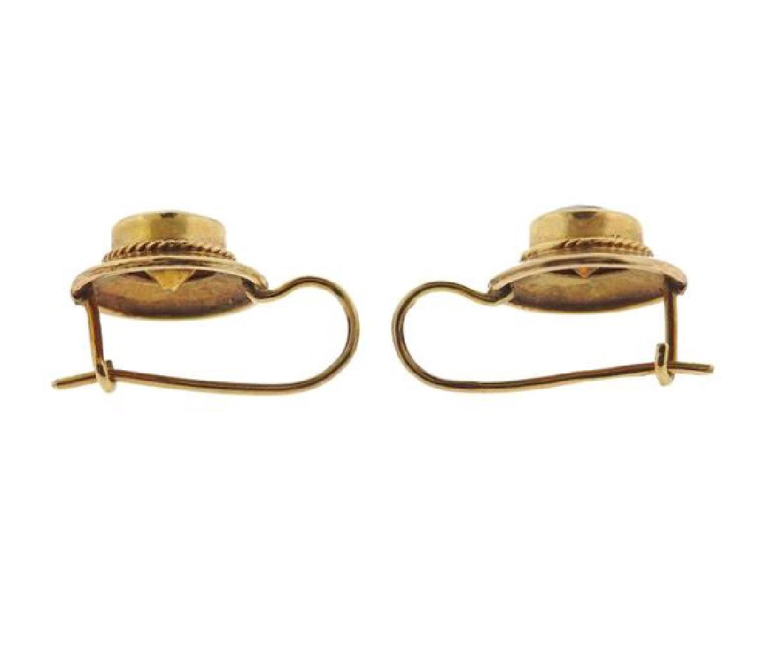 14K Gold Orange Gemstone Earrings - 3