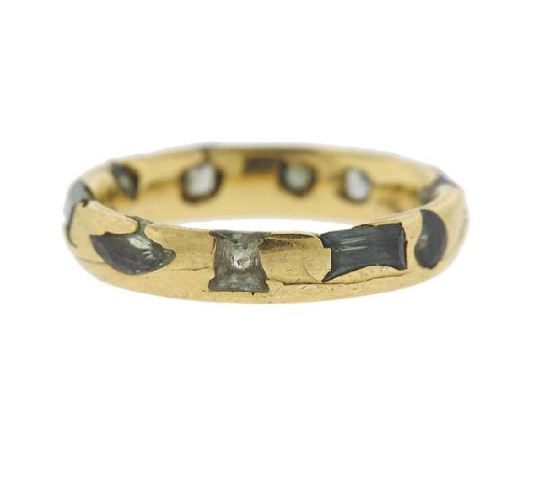 English 18K Gold Green Gemstone Band Ring