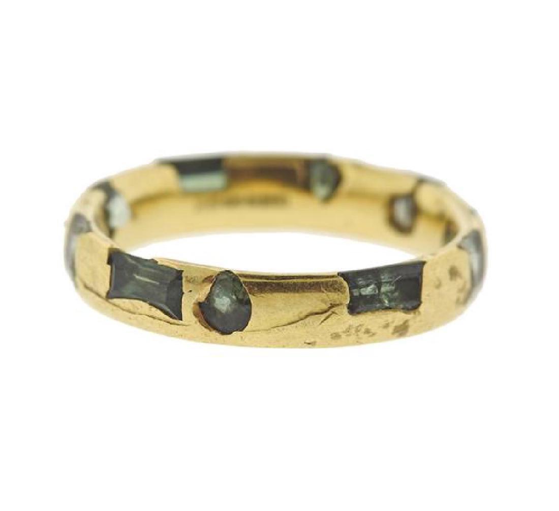 English 18K Gold Green Gemstone Band Ring - 2