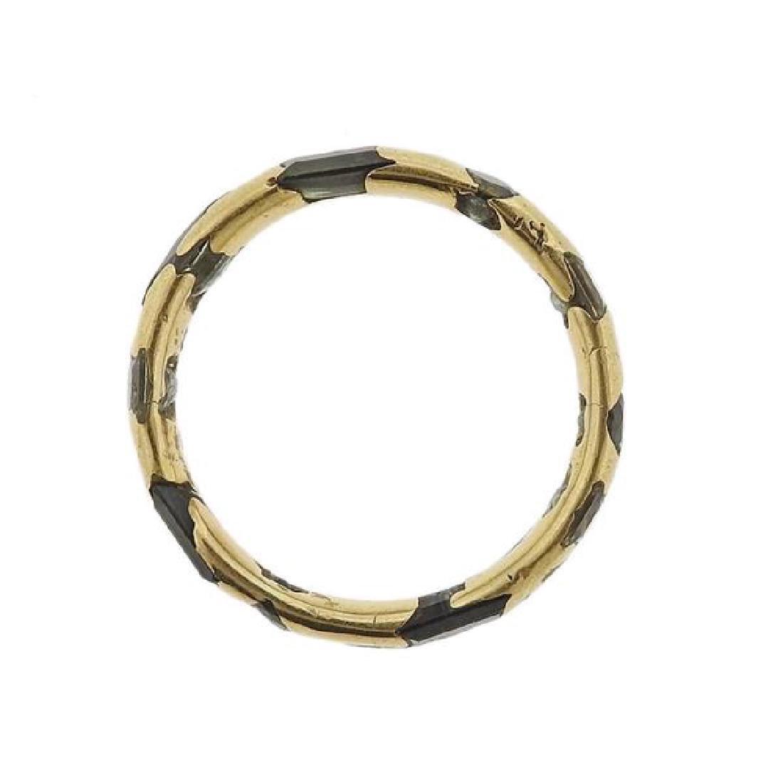 English 18K Gold Green Gemstone Band Ring - 3