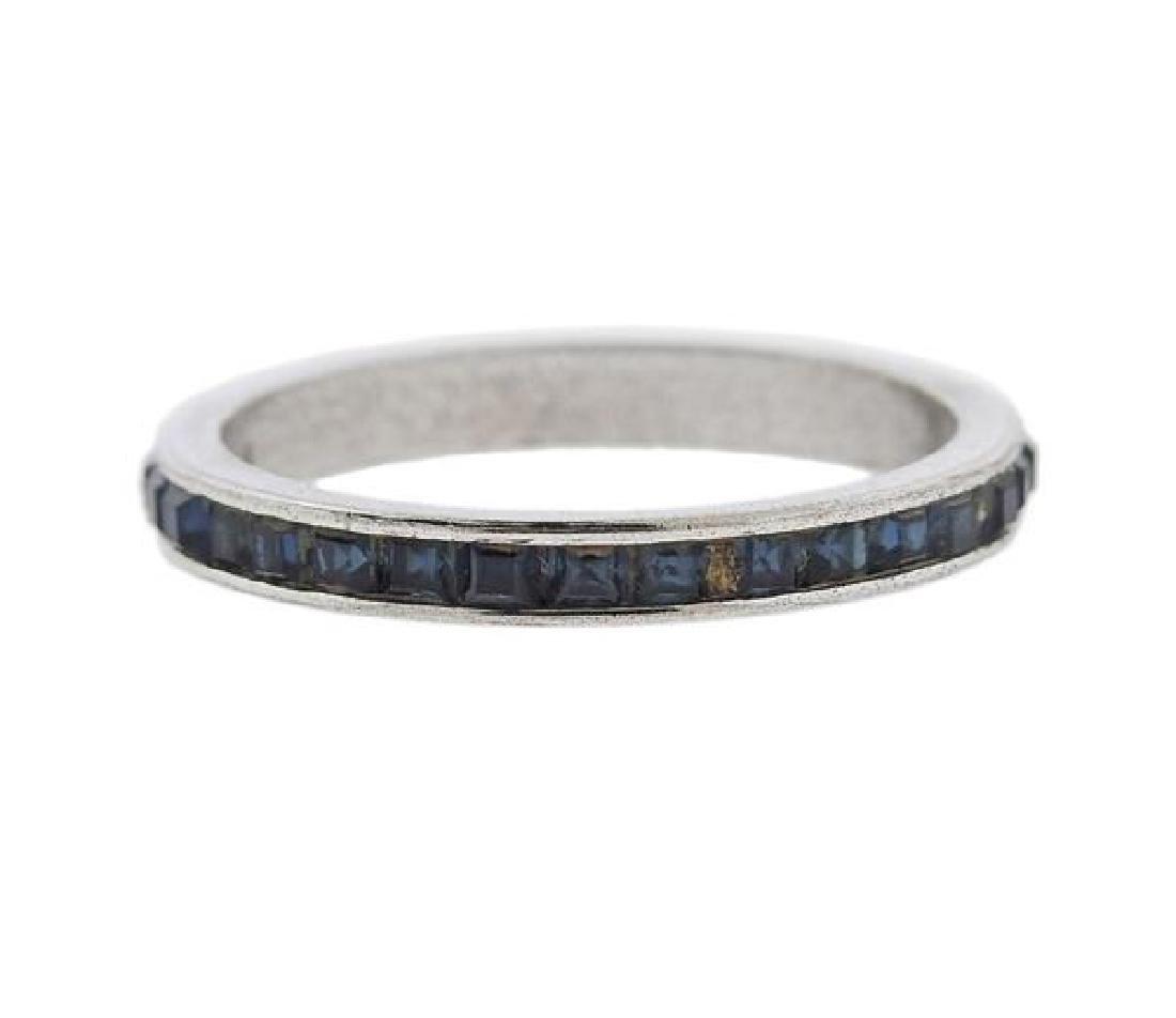 Sterling Silver Blue Gemstone Band Ring