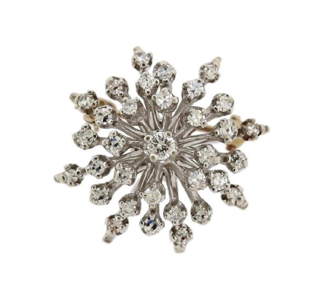 14K Gold Diamond Snowflake Brooch