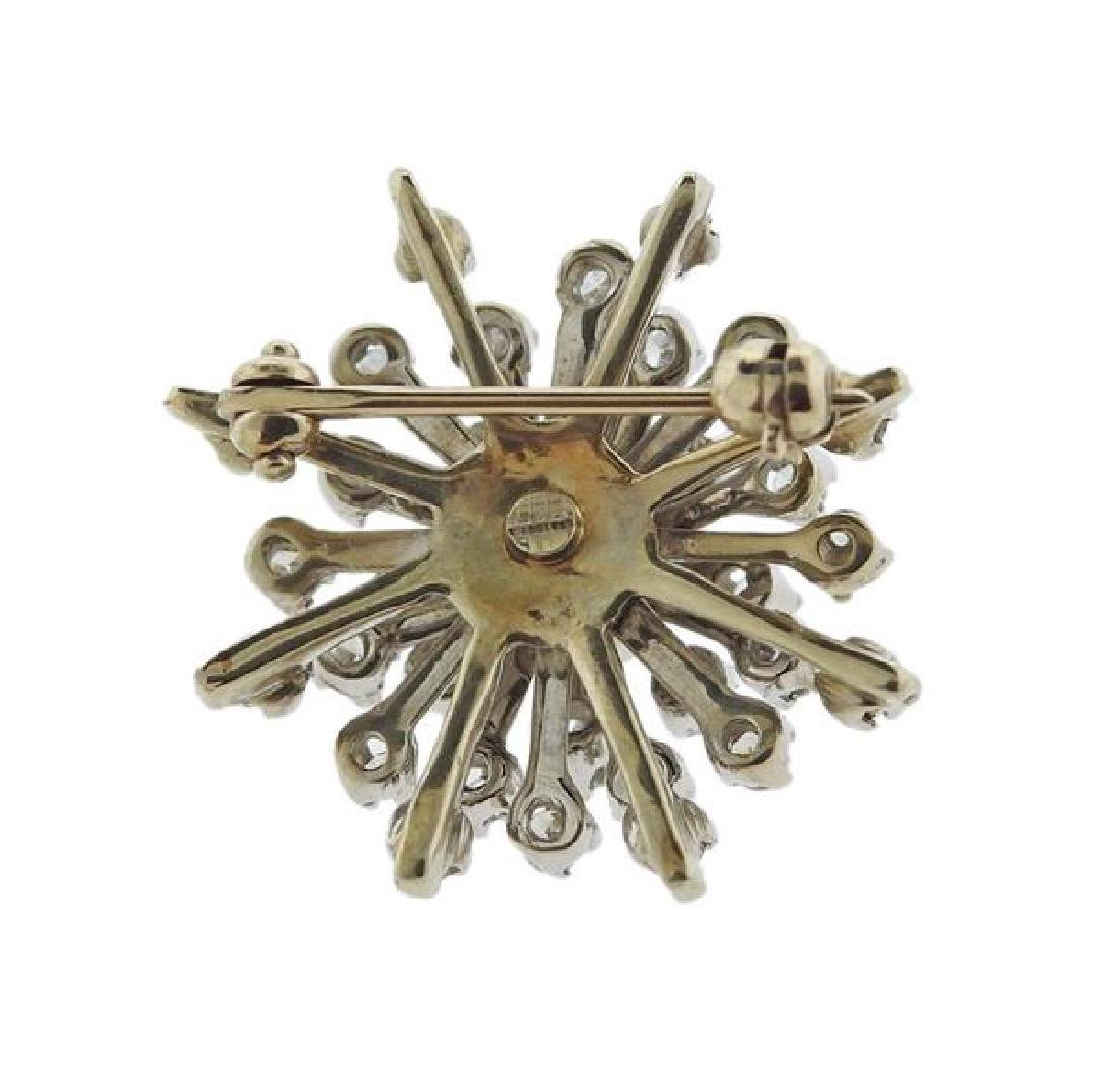 14K Gold Diamond Snowflake Brooch - 3