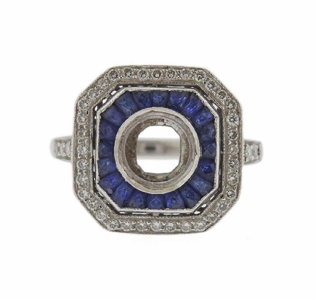 Art Deco Platinum Diamond Sapphire Ring Setting