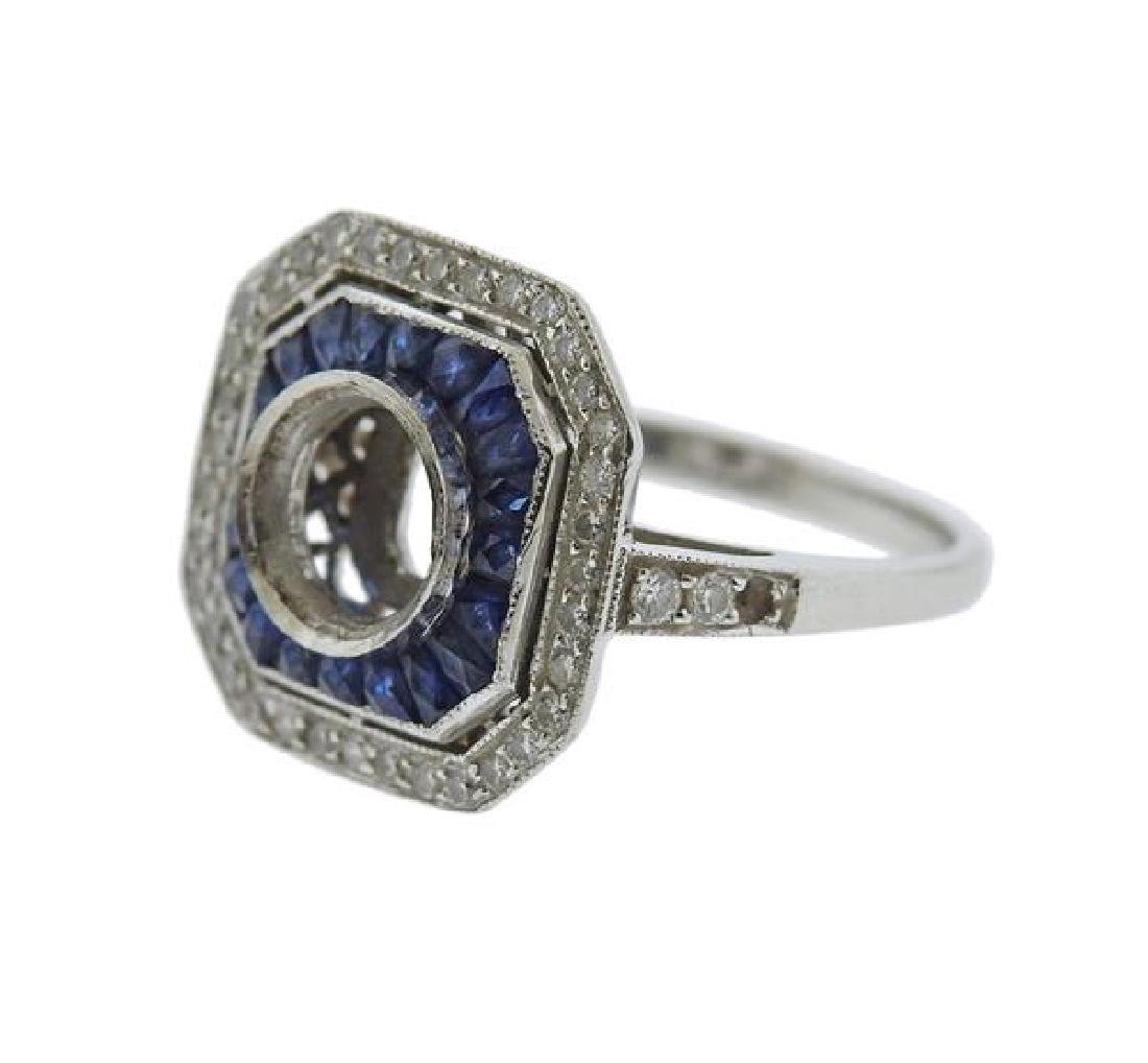 Art Deco Platinum Diamond Sapphire Ring Setting - 2
