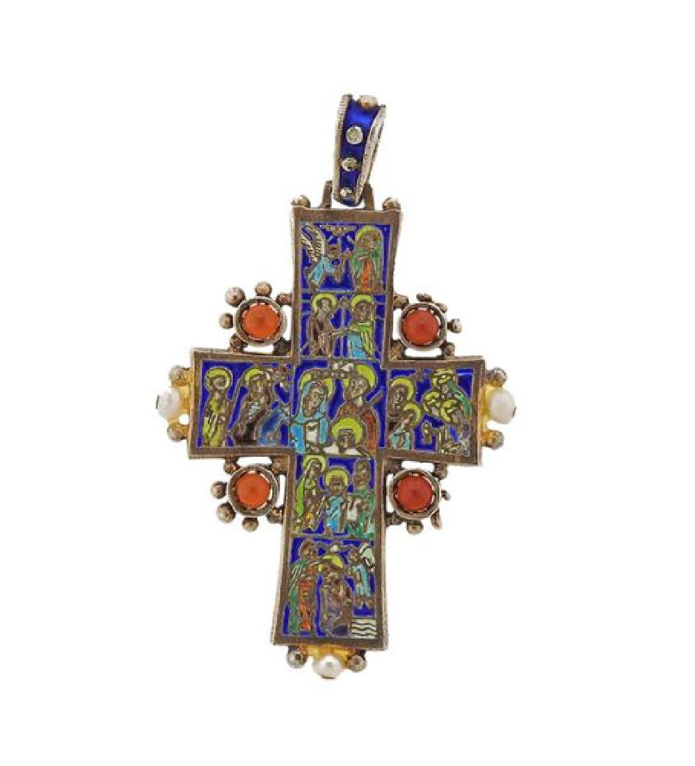 Antique Enamel Ruby Pearl Cross Pendant