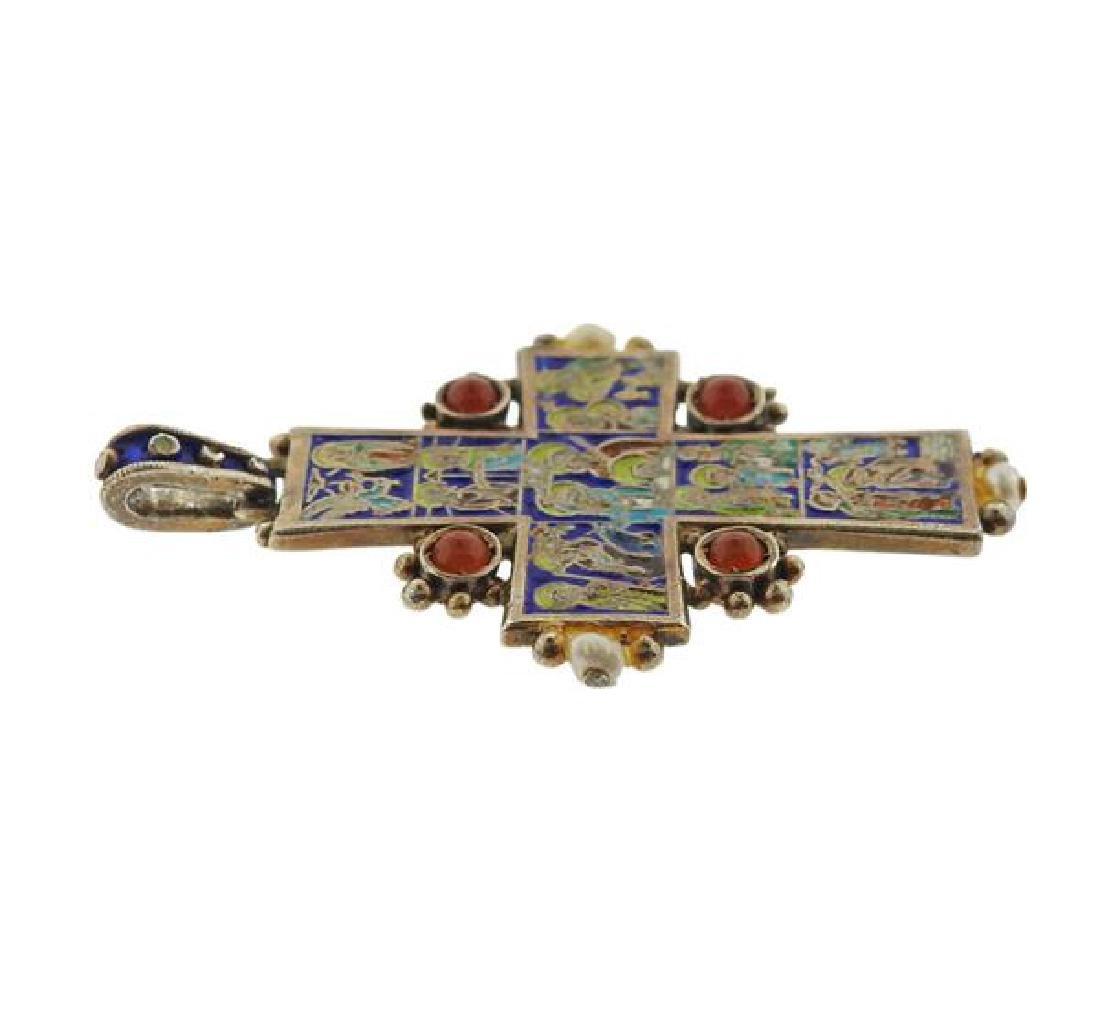 Antique Enamel Ruby Pearl Cross Pendant - 2