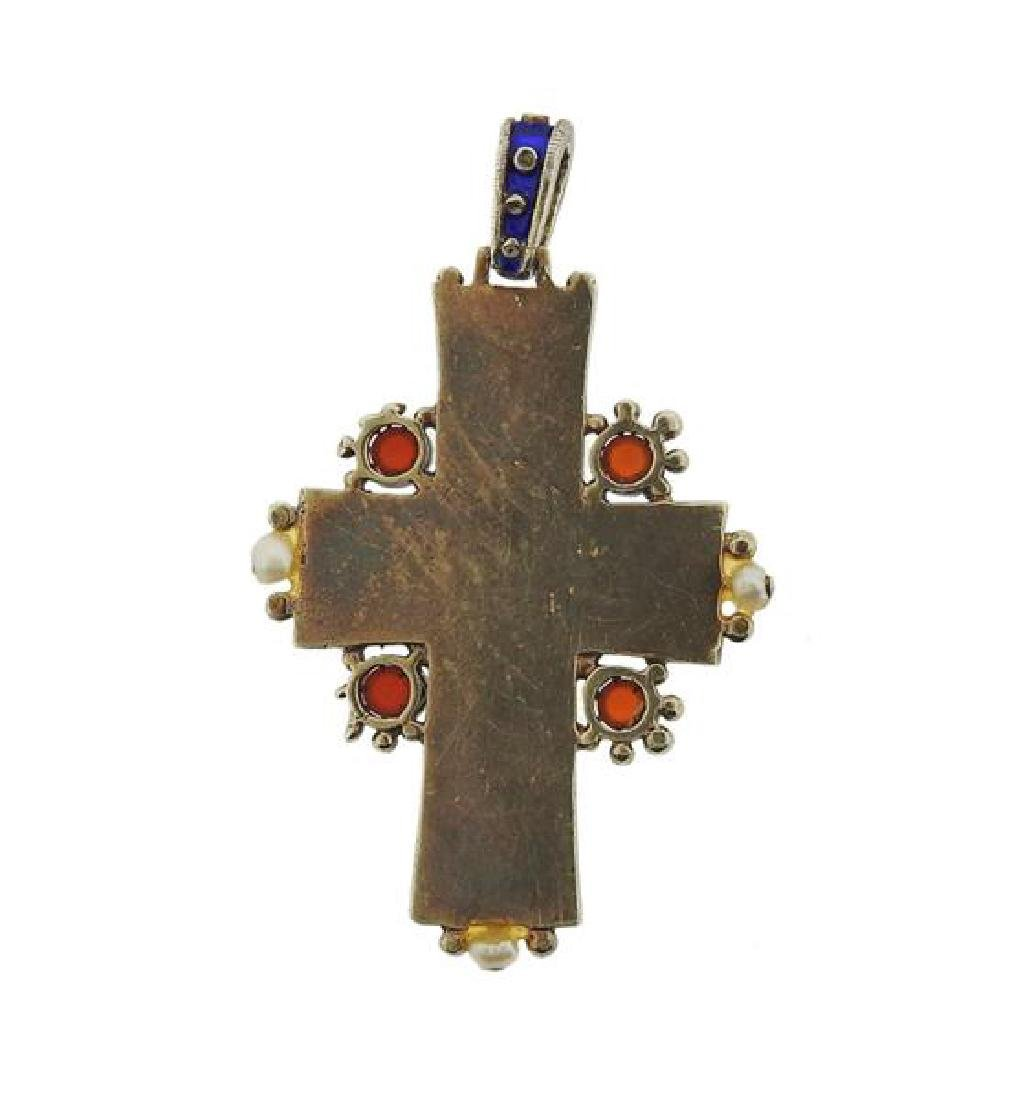 Antique Enamel Ruby Pearl Cross Pendant - 3