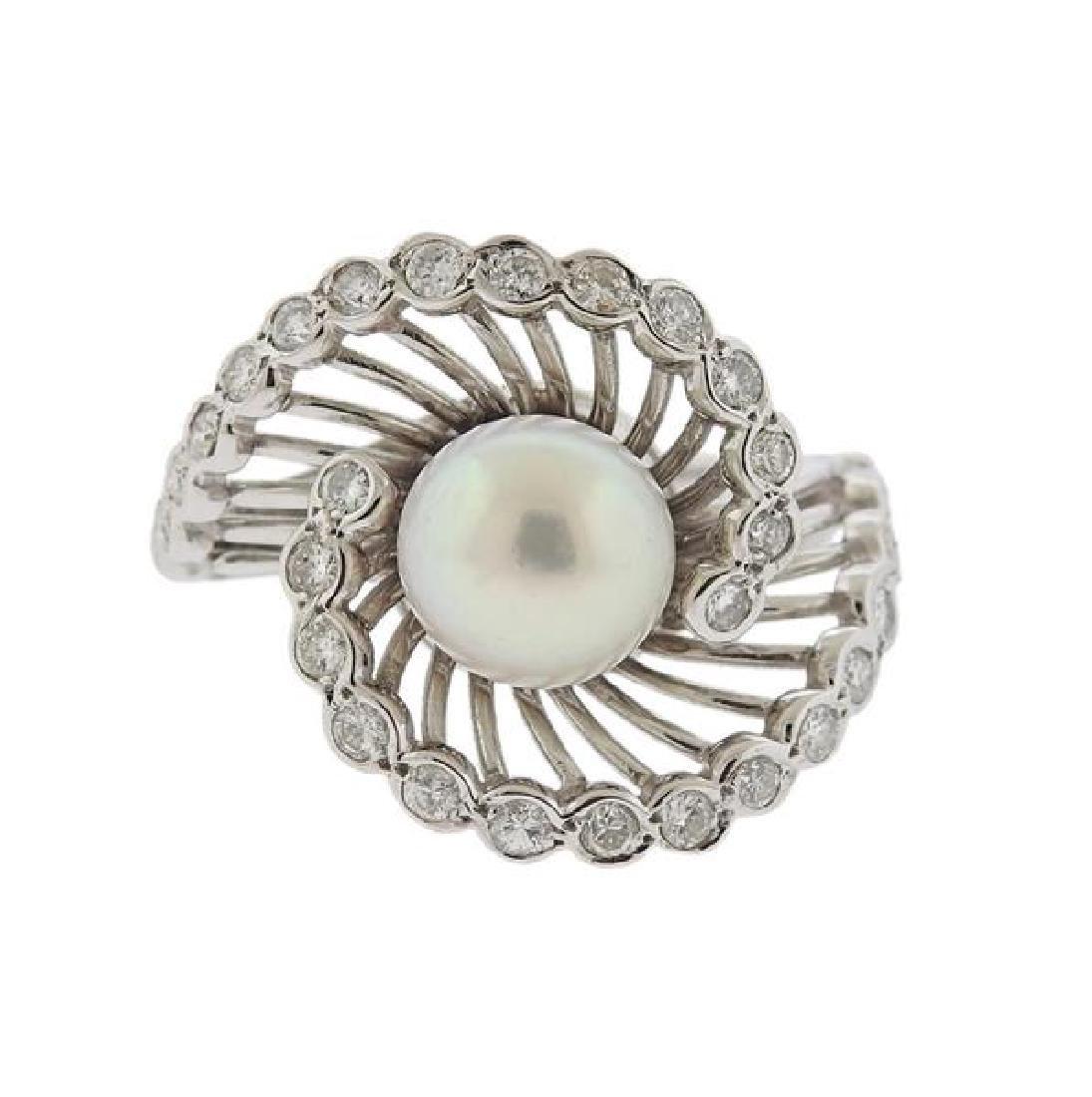 14K Gold Diamond Pearl Swirl Ring