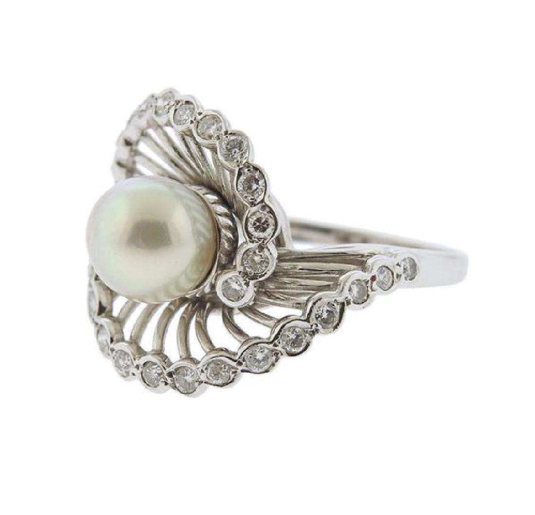 14K Gold Diamond Pearl Swirl Ring - 2