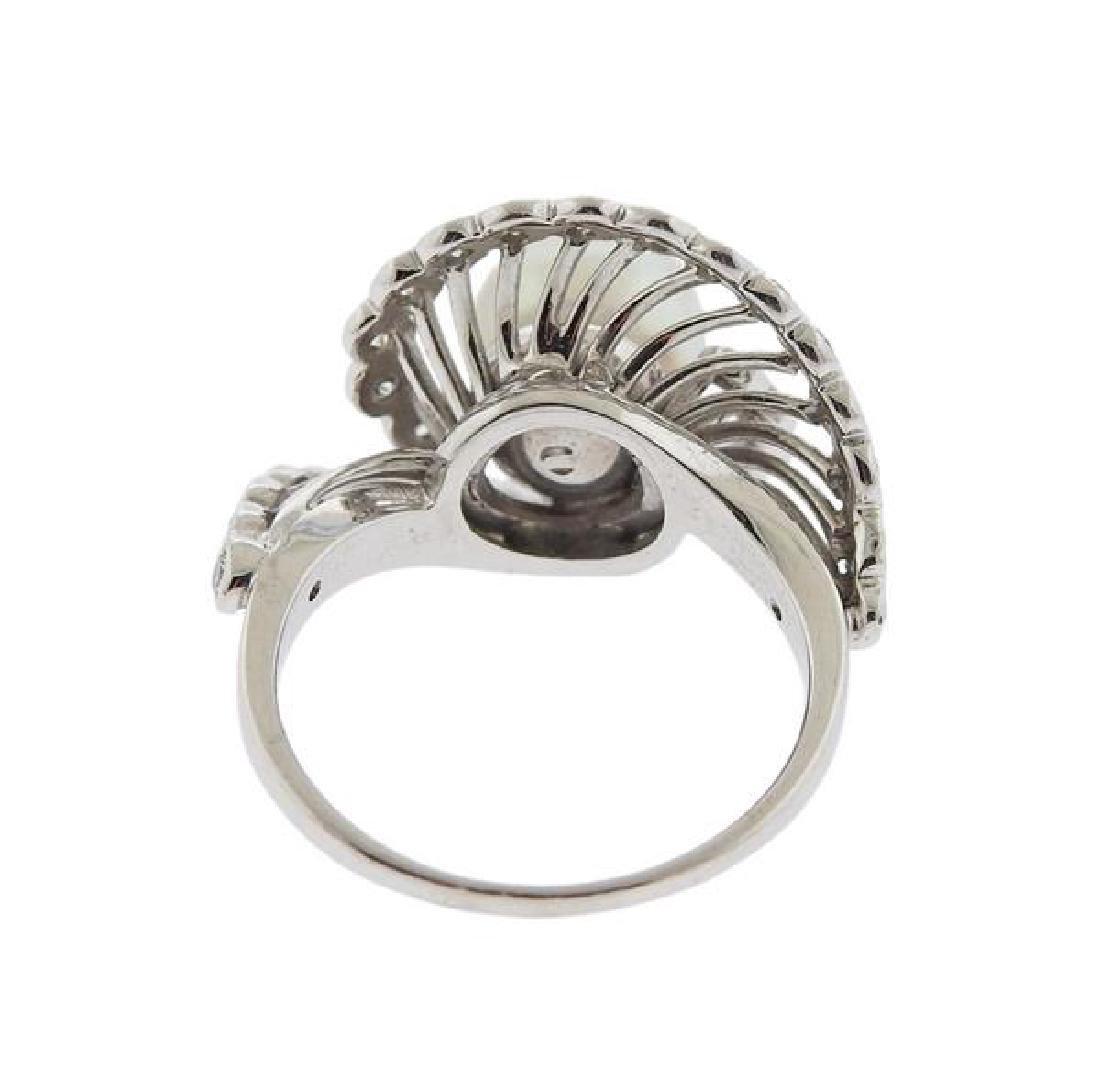 14K Gold Diamond Pearl Swirl Ring - 3