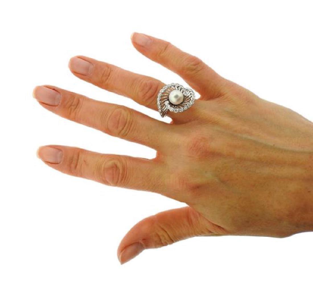 14K Gold Diamond Pearl Swirl Ring - 4