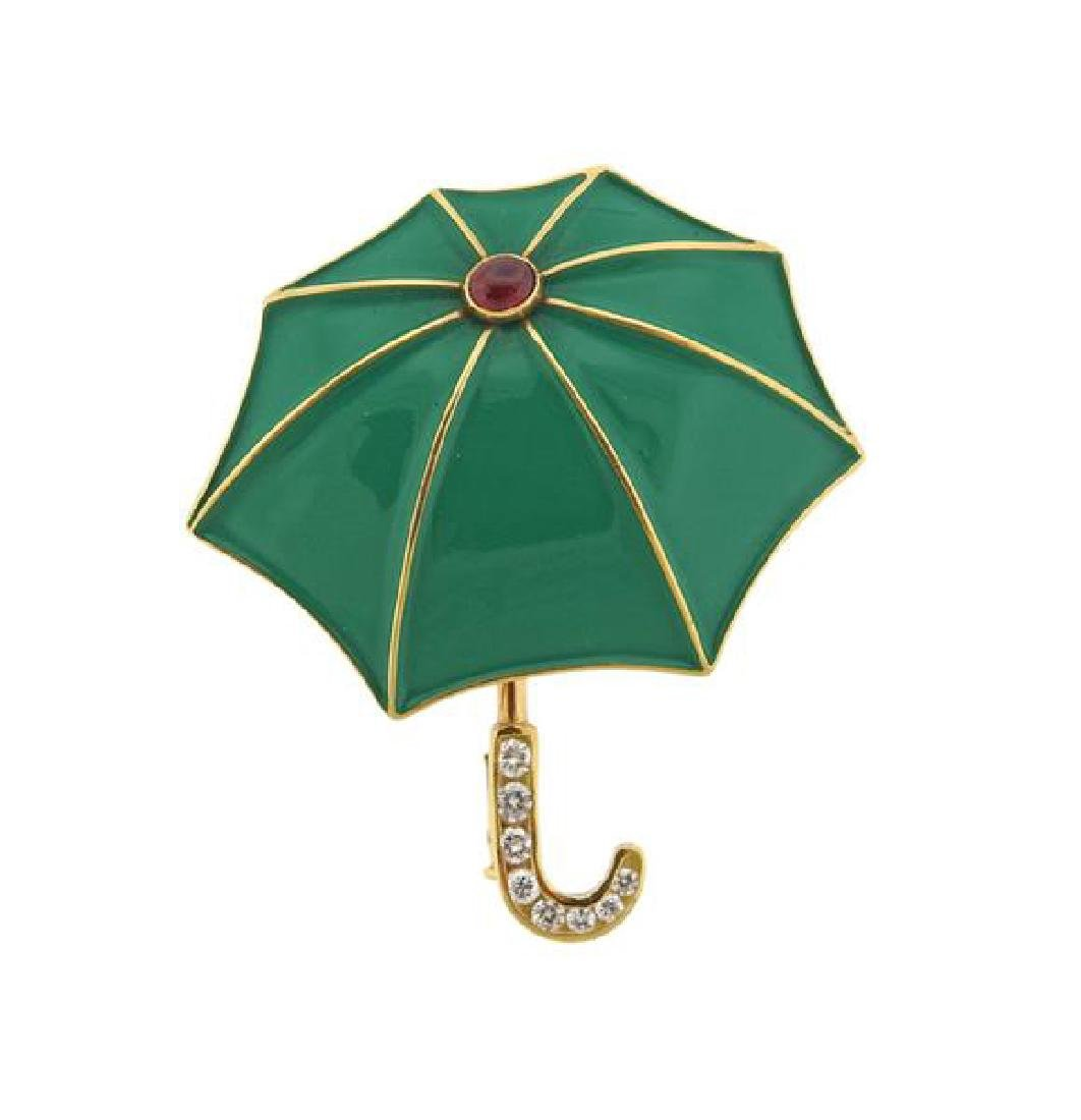 Fred Paris 18K Gold Diamond Gemstone Enamel Umbrella