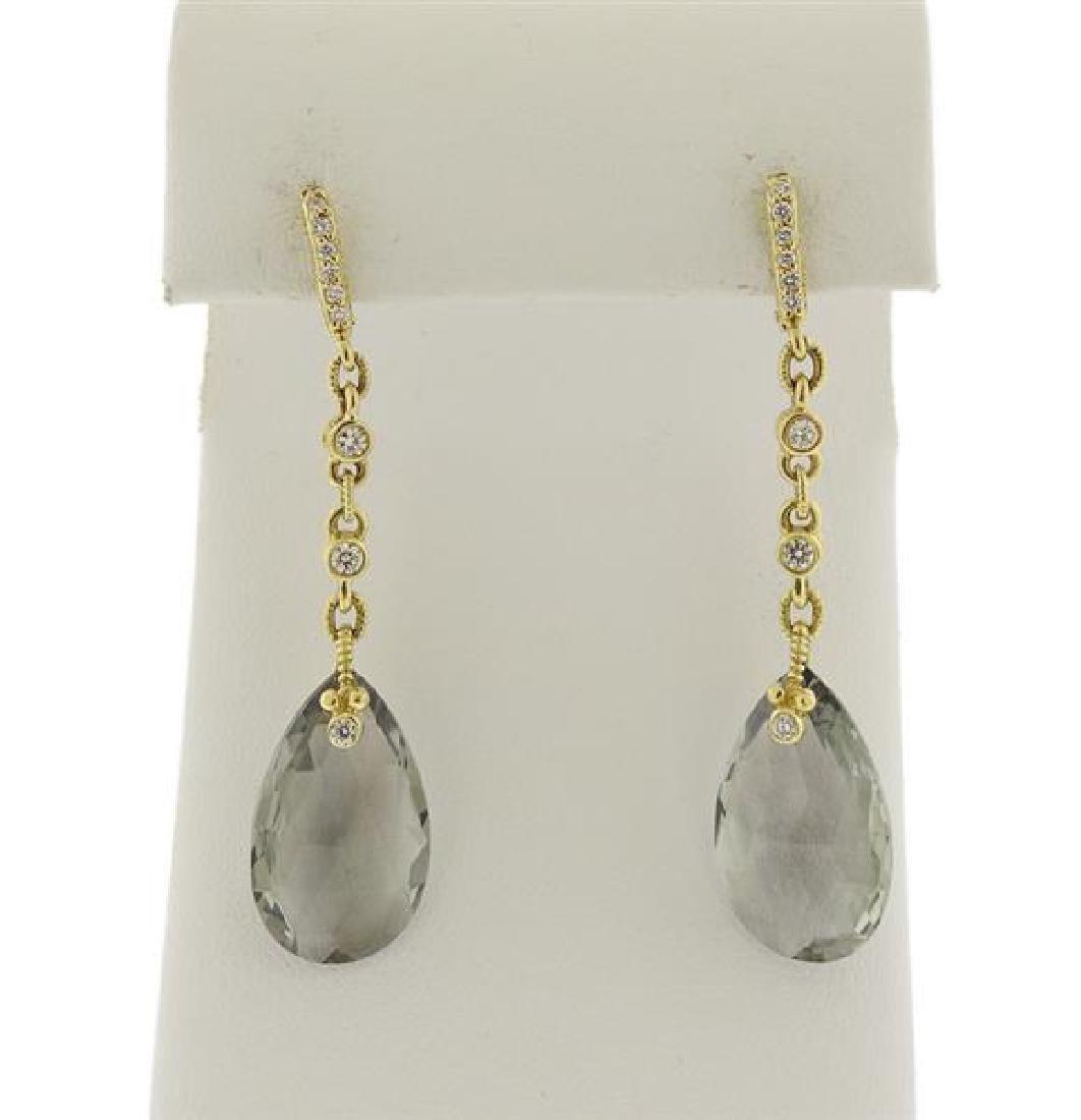 Judith Ripka 18K Gold Diamond Quartz Earrings