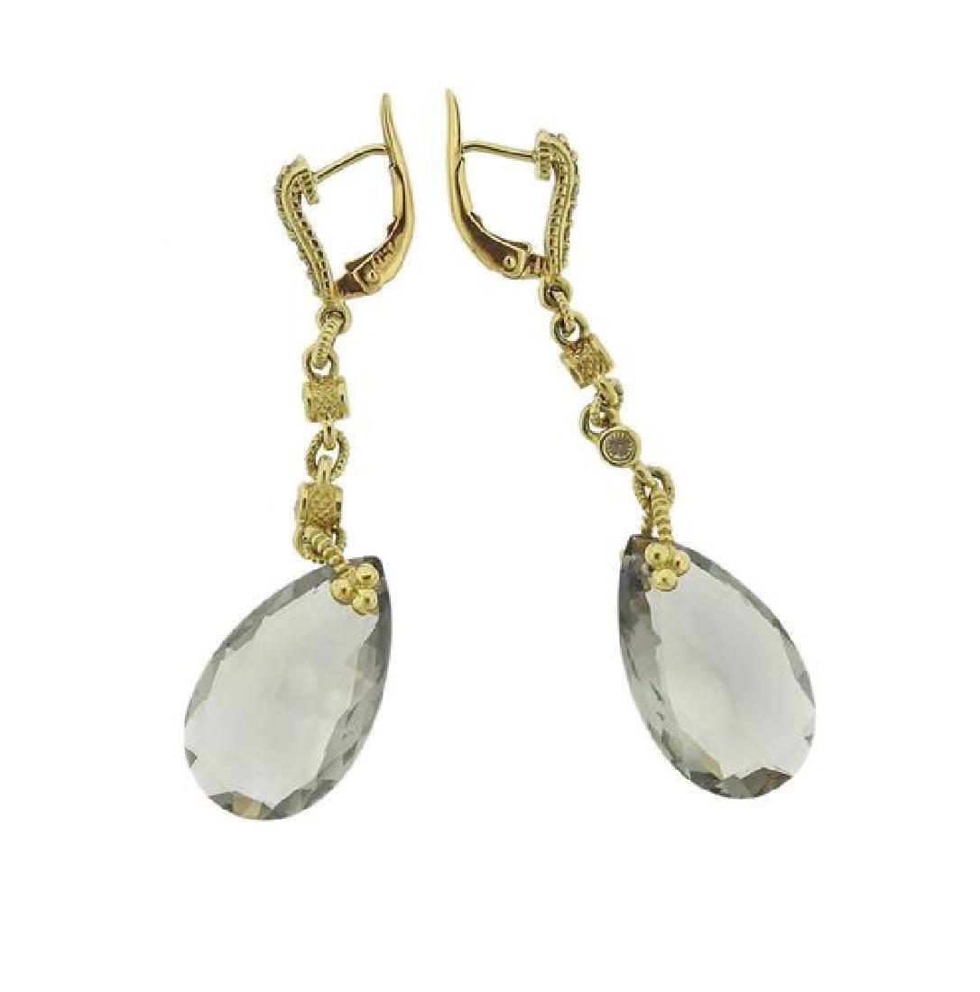 Judith Ripka 18K Gold Diamond Quartz Earrings - 3