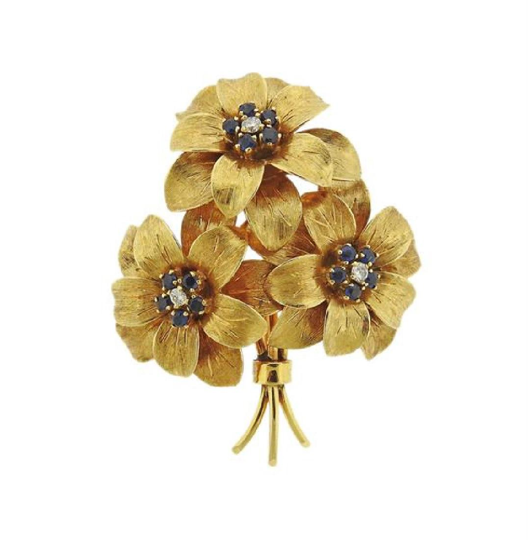Tiffany & Co 18k Gold Diamond Sapphire Bouquet